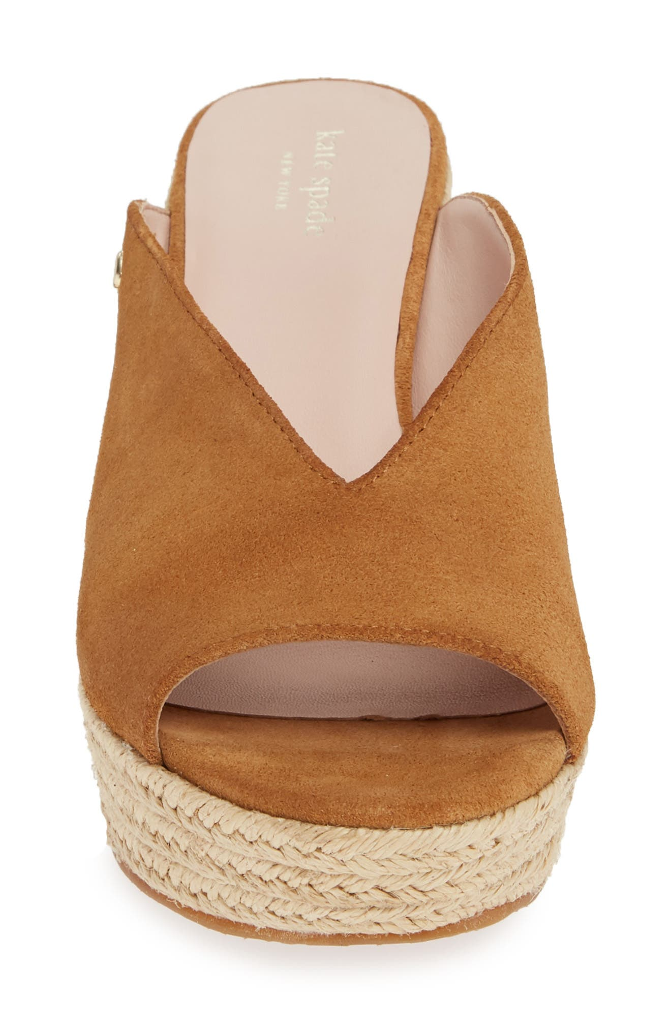 KATE SPADE NEW YORK, thea wedge espadrille mule, Alternate thumbnail 4, color, TOAST