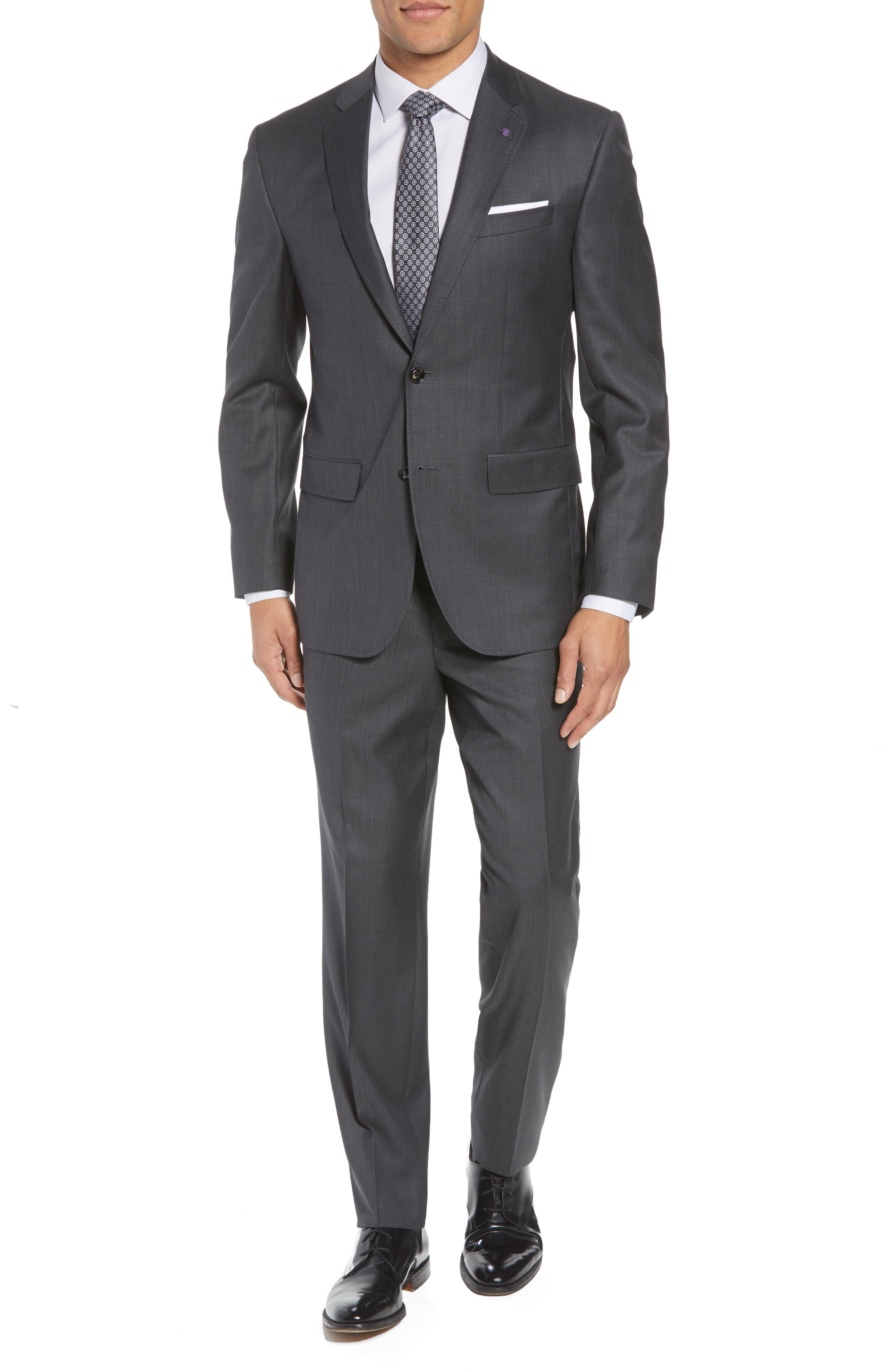 TED BAKER LONDON, Jay Trim Fit Solid Wool Suit, Main thumbnail 1, color, CHARCOAL