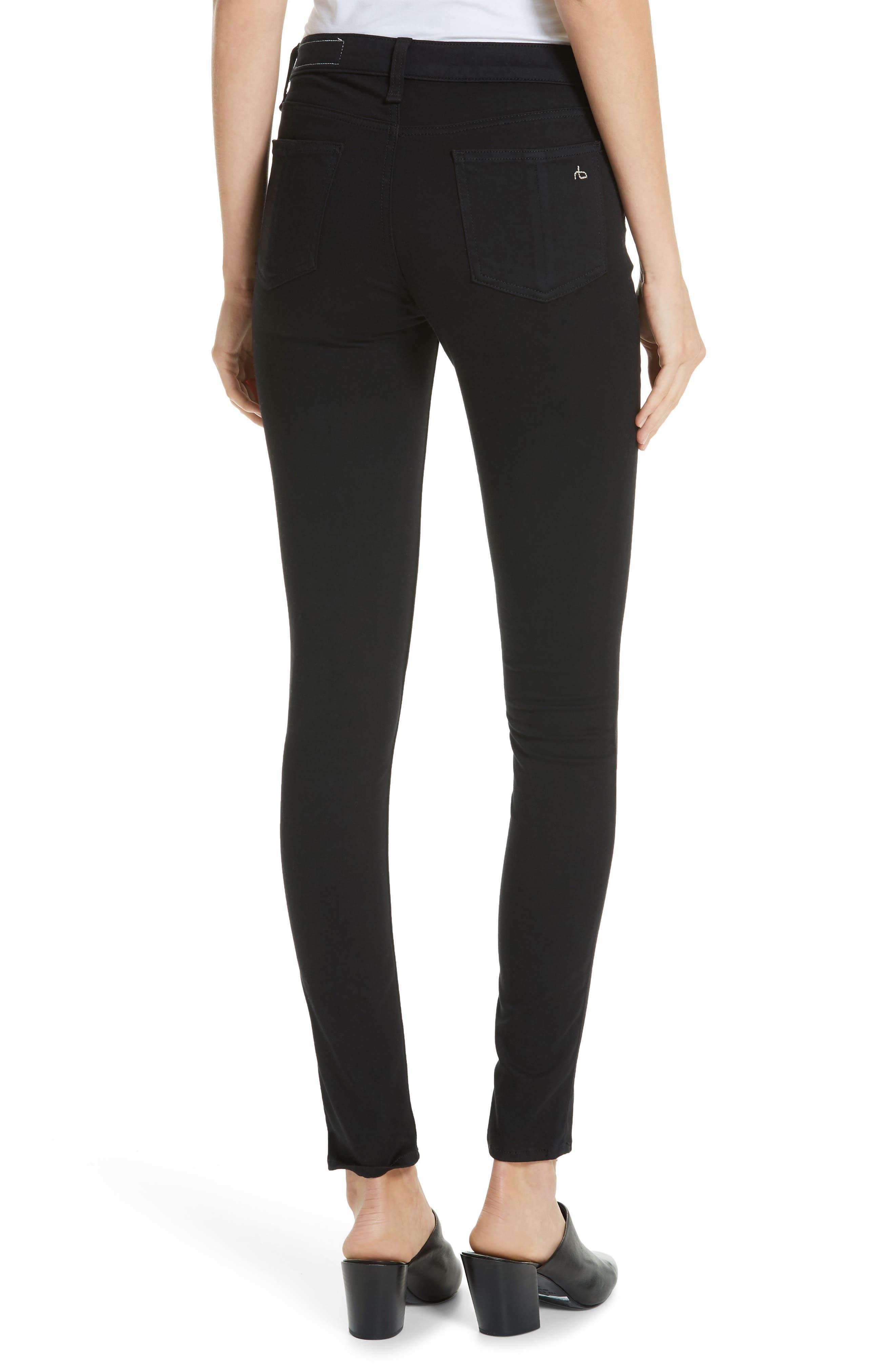RAG & BONE, High Waist Ankle Skinny Jeans, Alternate thumbnail 2, color, BLACK
