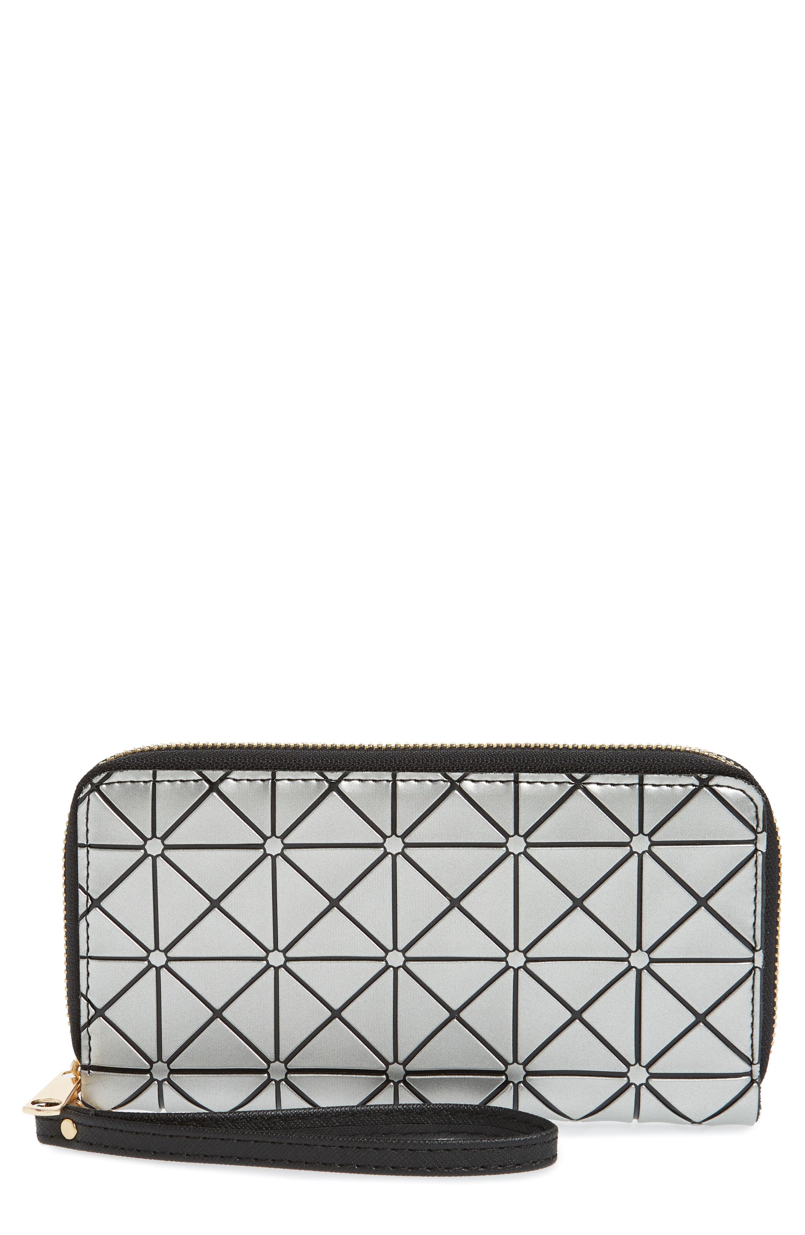 YOKI BAGS Diamond Embossed Faux Leather Zip Wallet, Main, color, 040