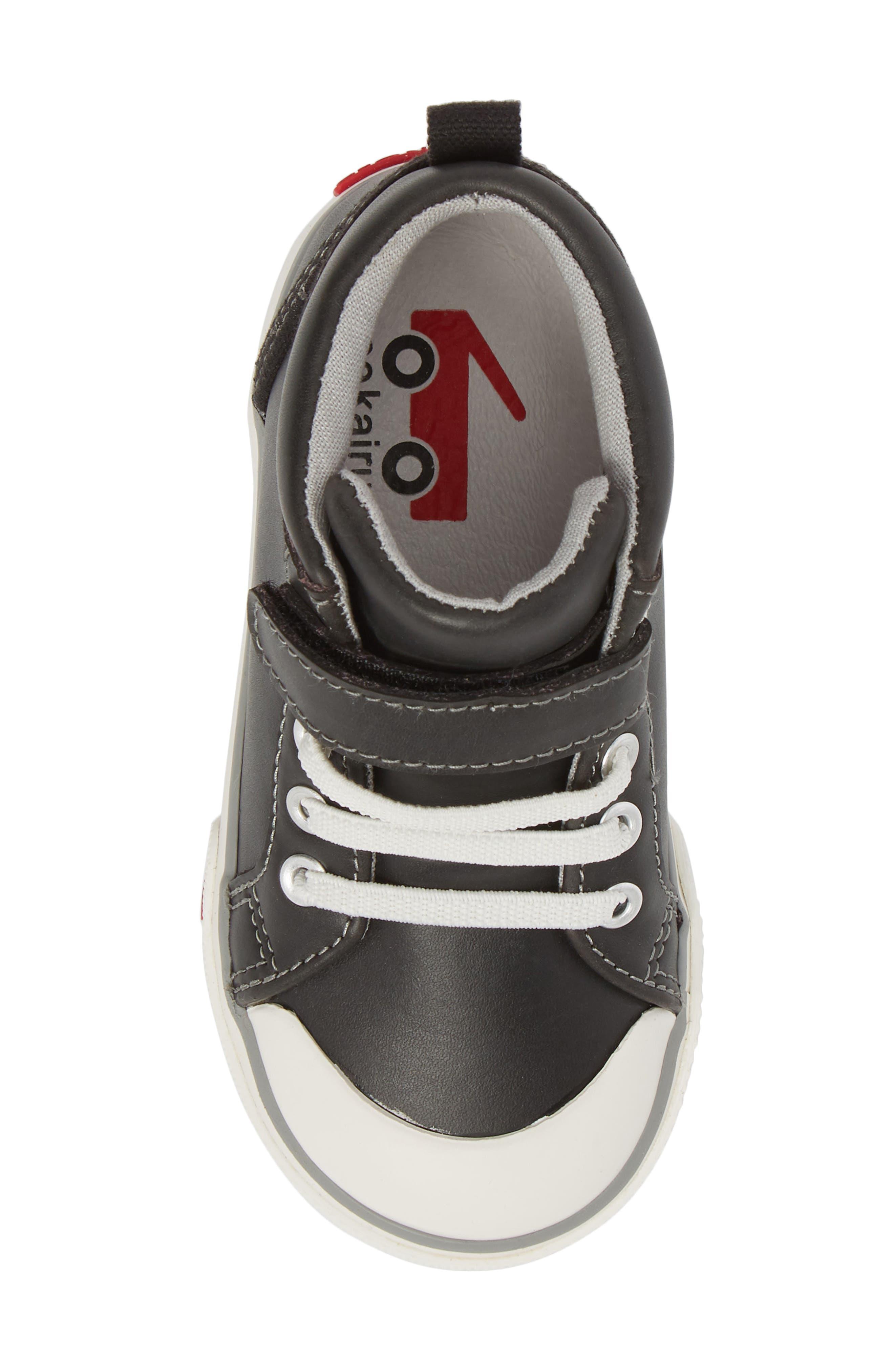 SEE KAI RUN, Peyton High Top Sneaker, Alternate thumbnail 5, color, BLACK LEATHER
