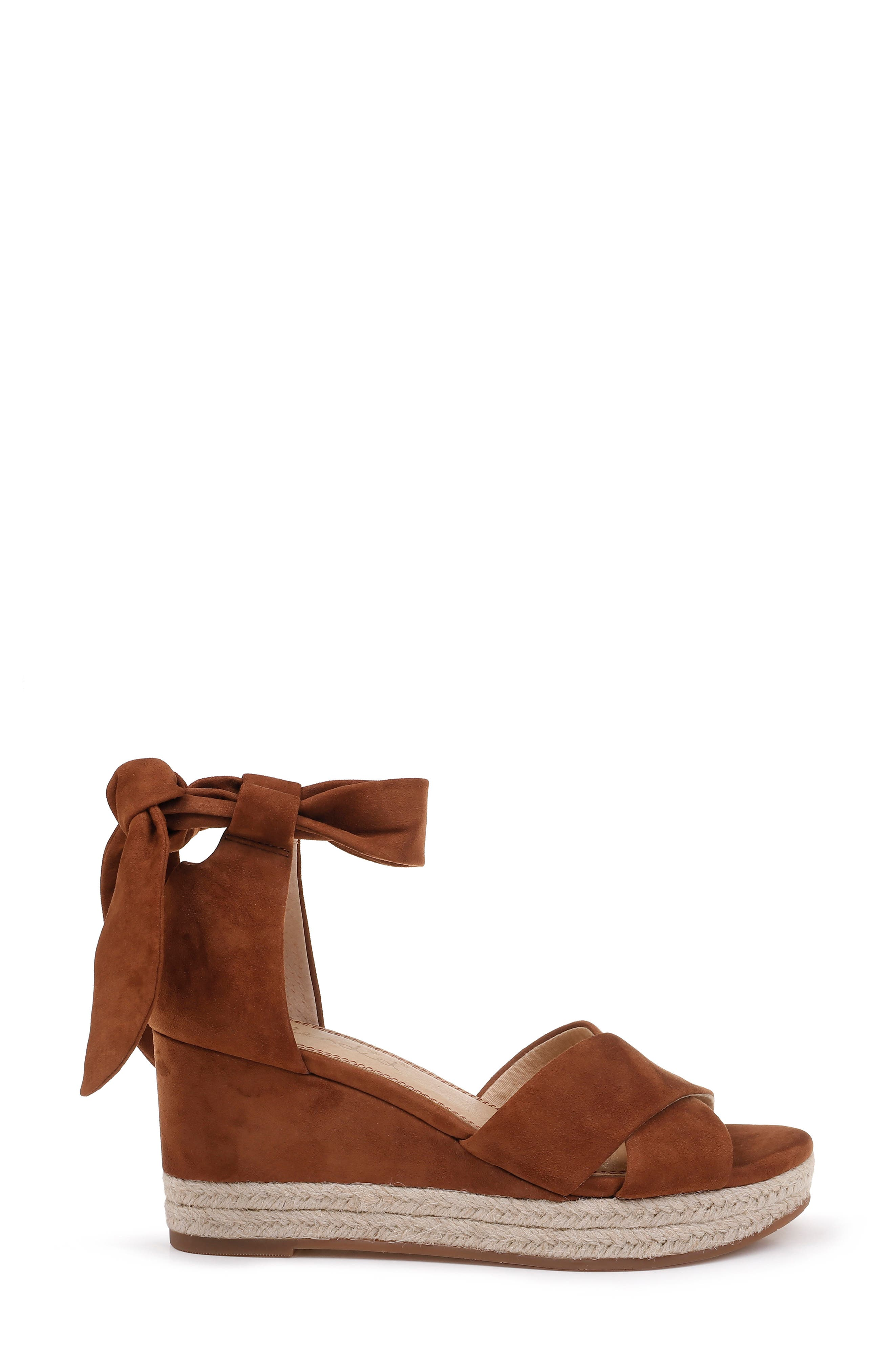 SPLENDID, Terrence Ankle Wrap Wedge Sandal, Alternate thumbnail 3, color, CHESTNUT SUEDE