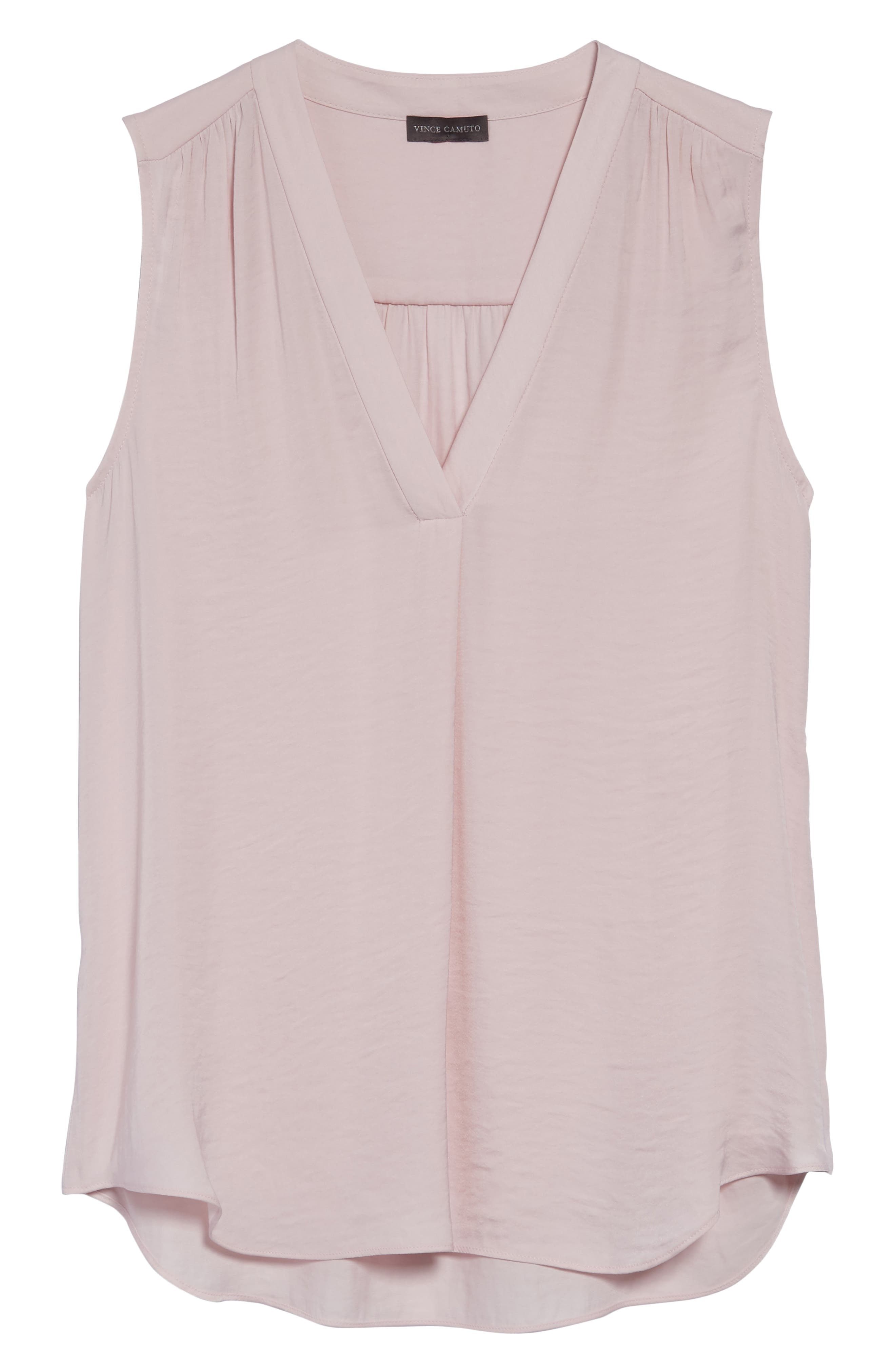 VINCE CAMUTO, Rumpled Satin Blouse, Alternate thumbnail 3, color, PINK BLISS