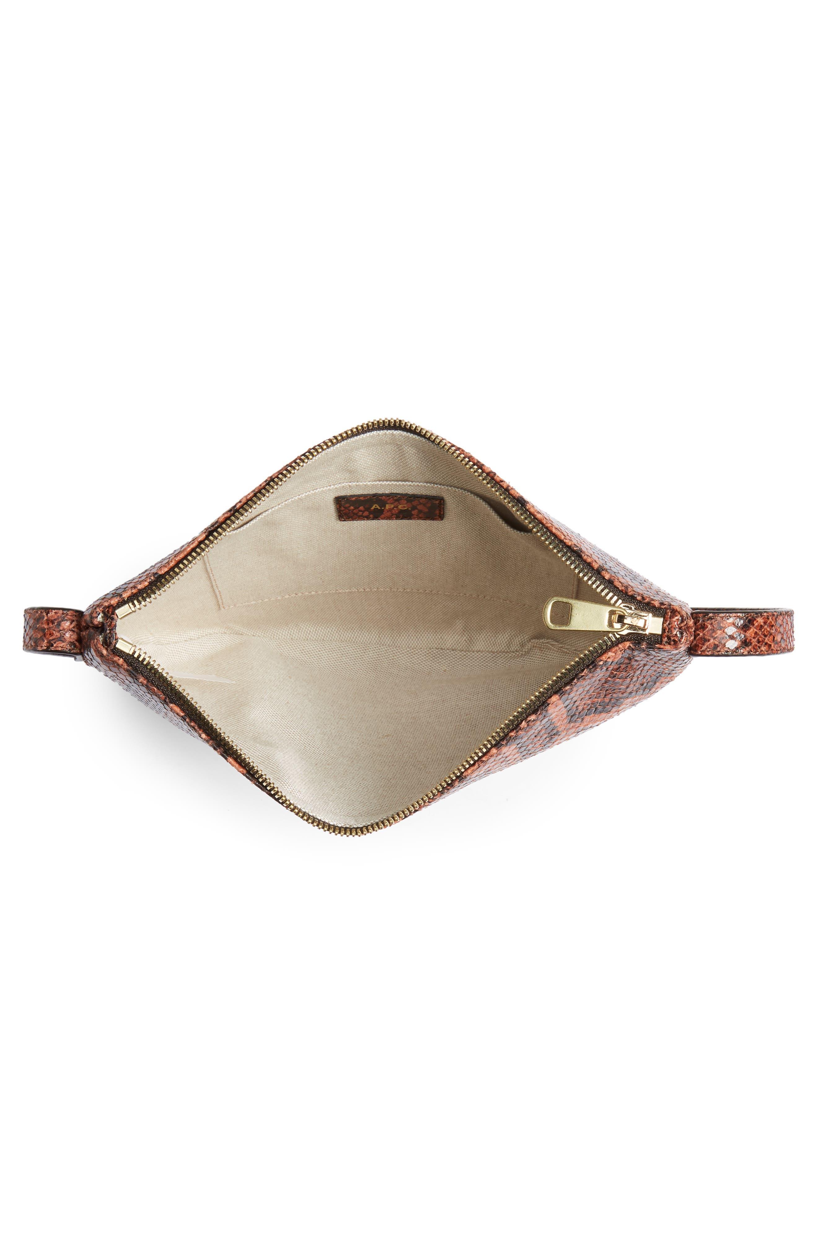 A.P.C., Sac Maelys Python Embossed Leather Crossbody Bag, Alternate thumbnail 5, color, EAF BRIQUE