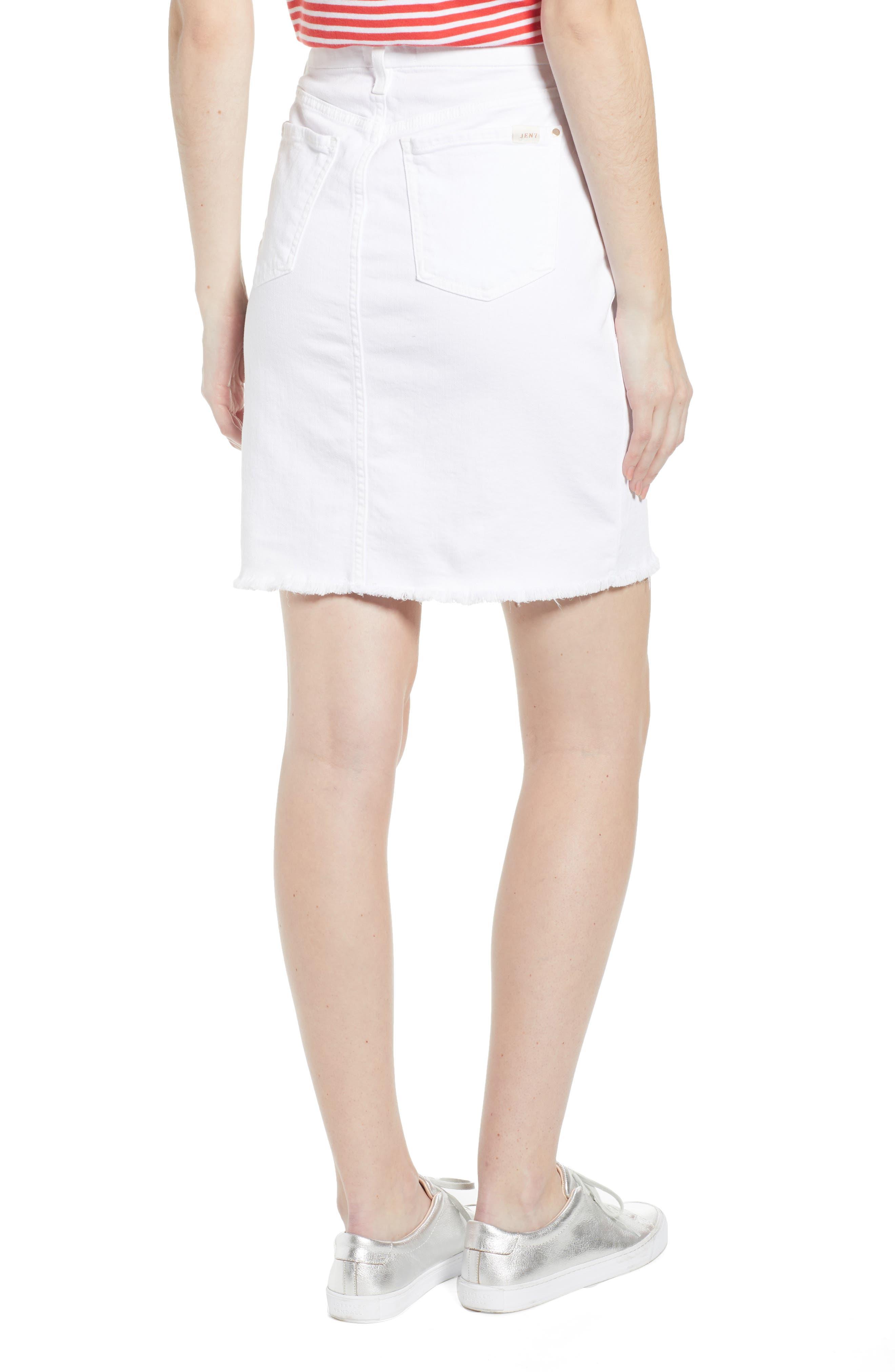 JEN7 BY 7 FOR ALL MANKIND, Frayed Hem Denim Pencil Skirt, Alternate thumbnail 2, color, WHITE