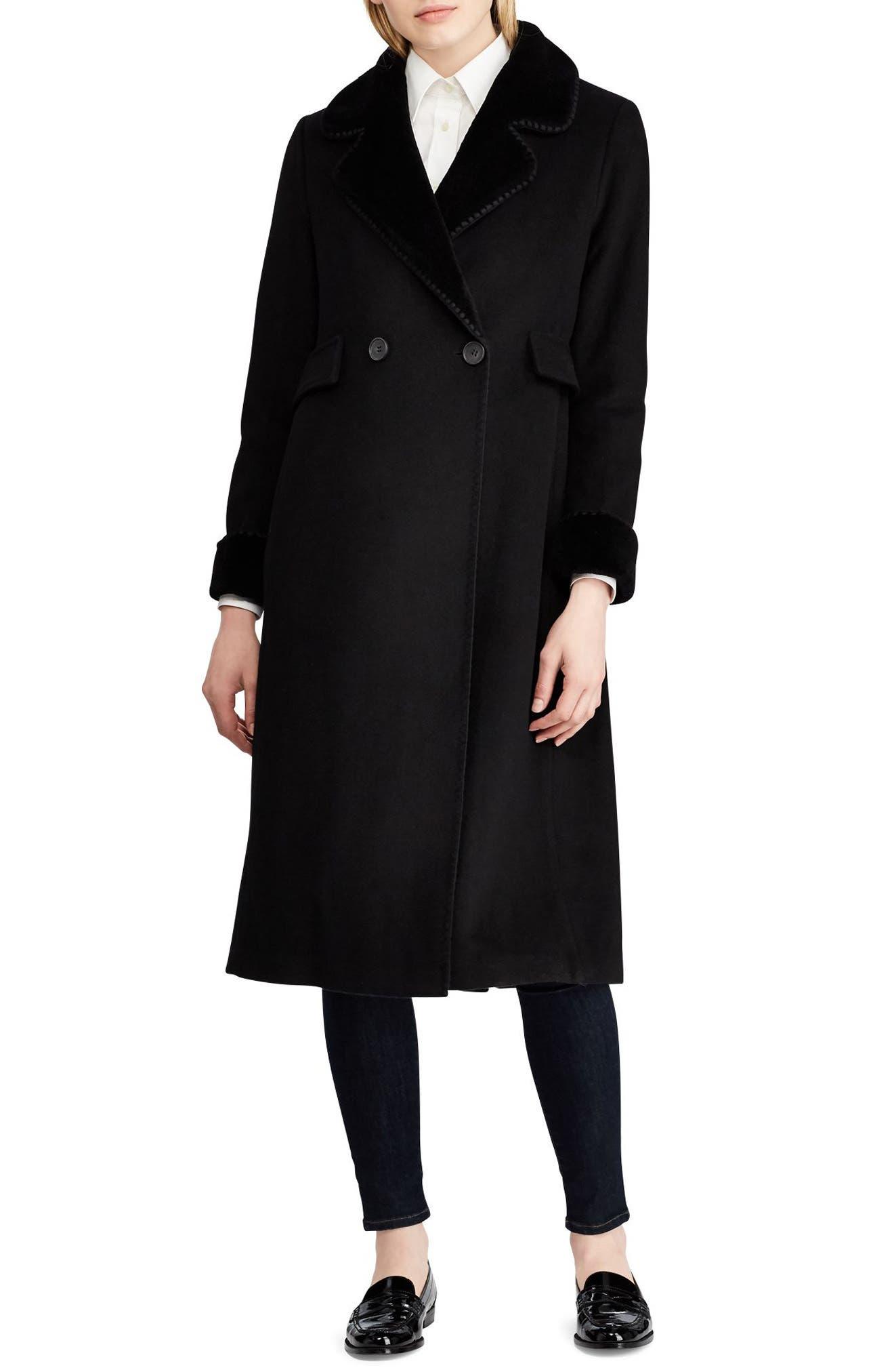 LAUREN RALPH LAUREN Wool Blend Faux Shearling Trim Coat, Main, color, 001