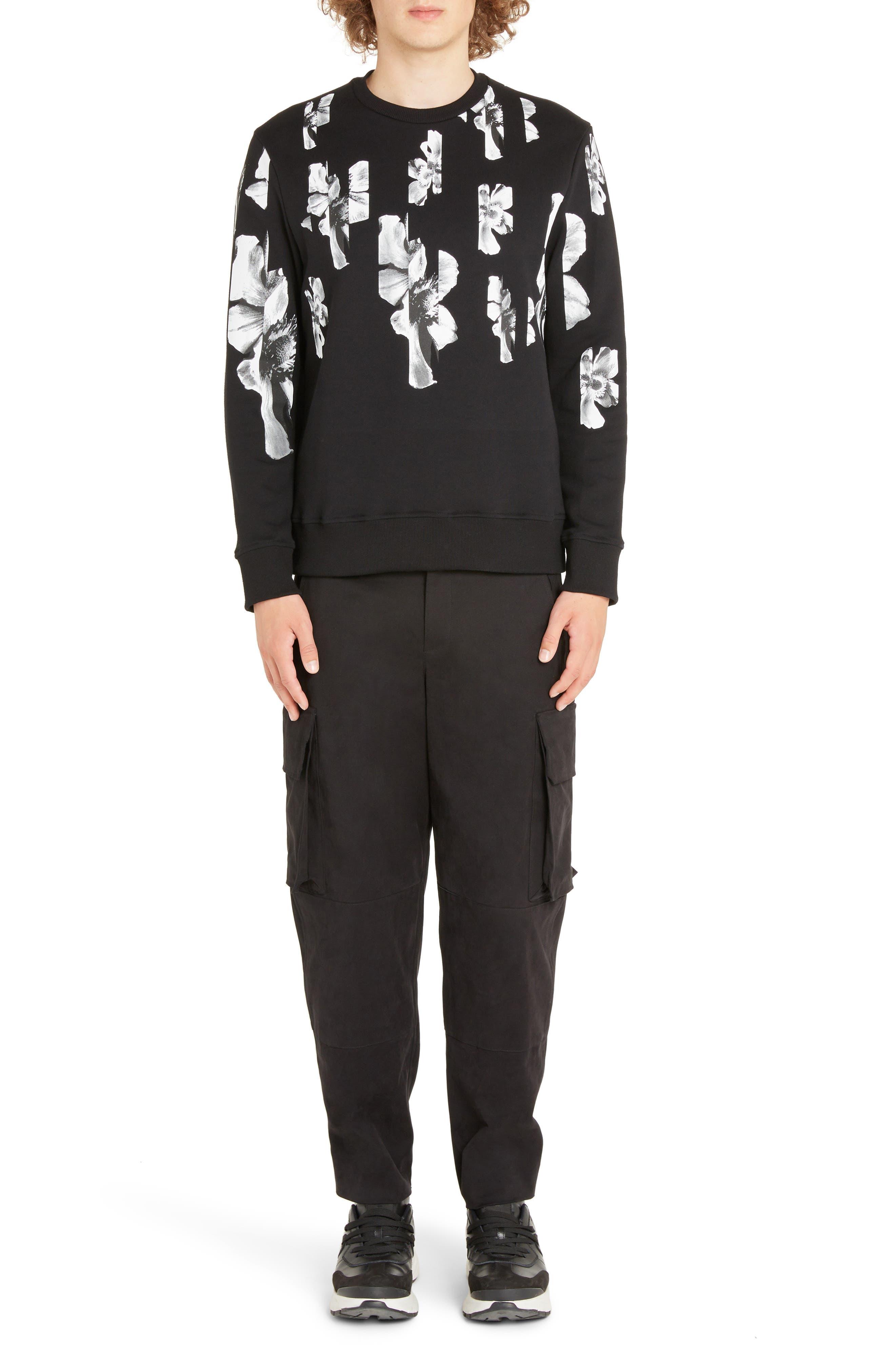 NEIL BARRETT, Abstract Flower Print Sweatshirt, Alternate thumbnail 6, color, BLACK/ WHITE