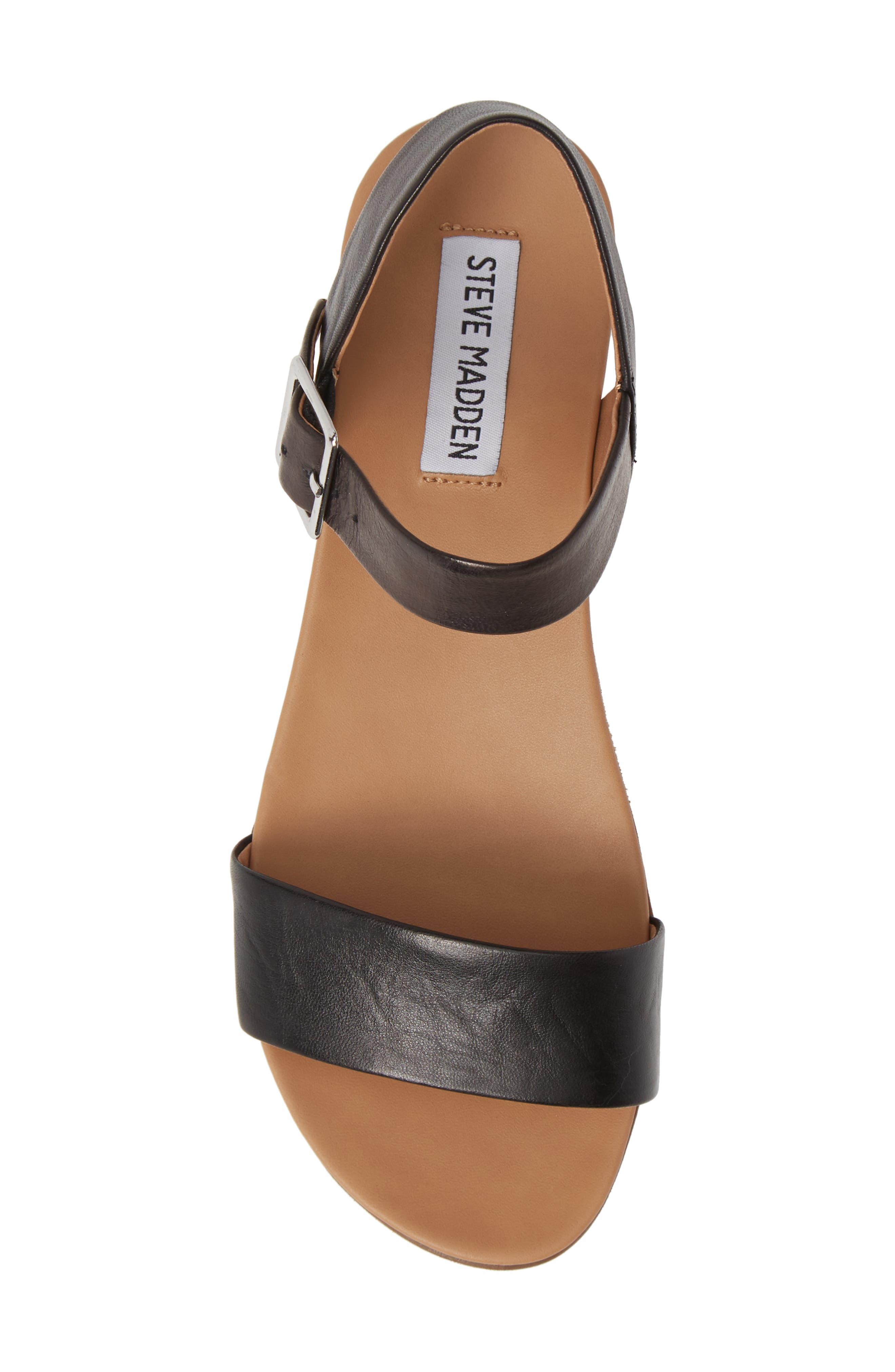 STEVE MADDEN, Aida Platform Sandal, Alternate thumbnail 5, color, BLACK LEATHER