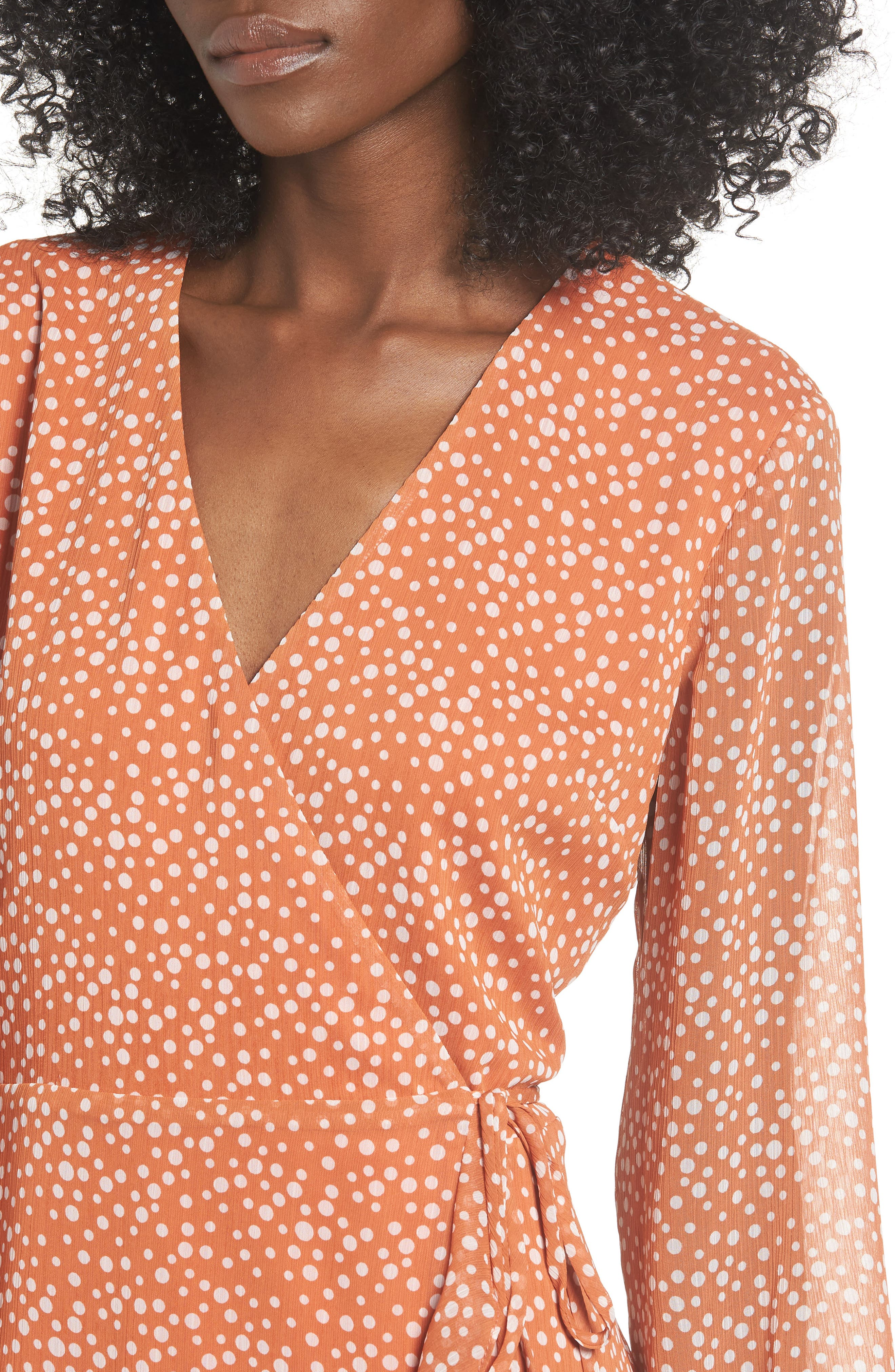 ALL IN FAVOR, Brittany Wrap Minidress, Alternate thumbnail 5, color, RUST DOT