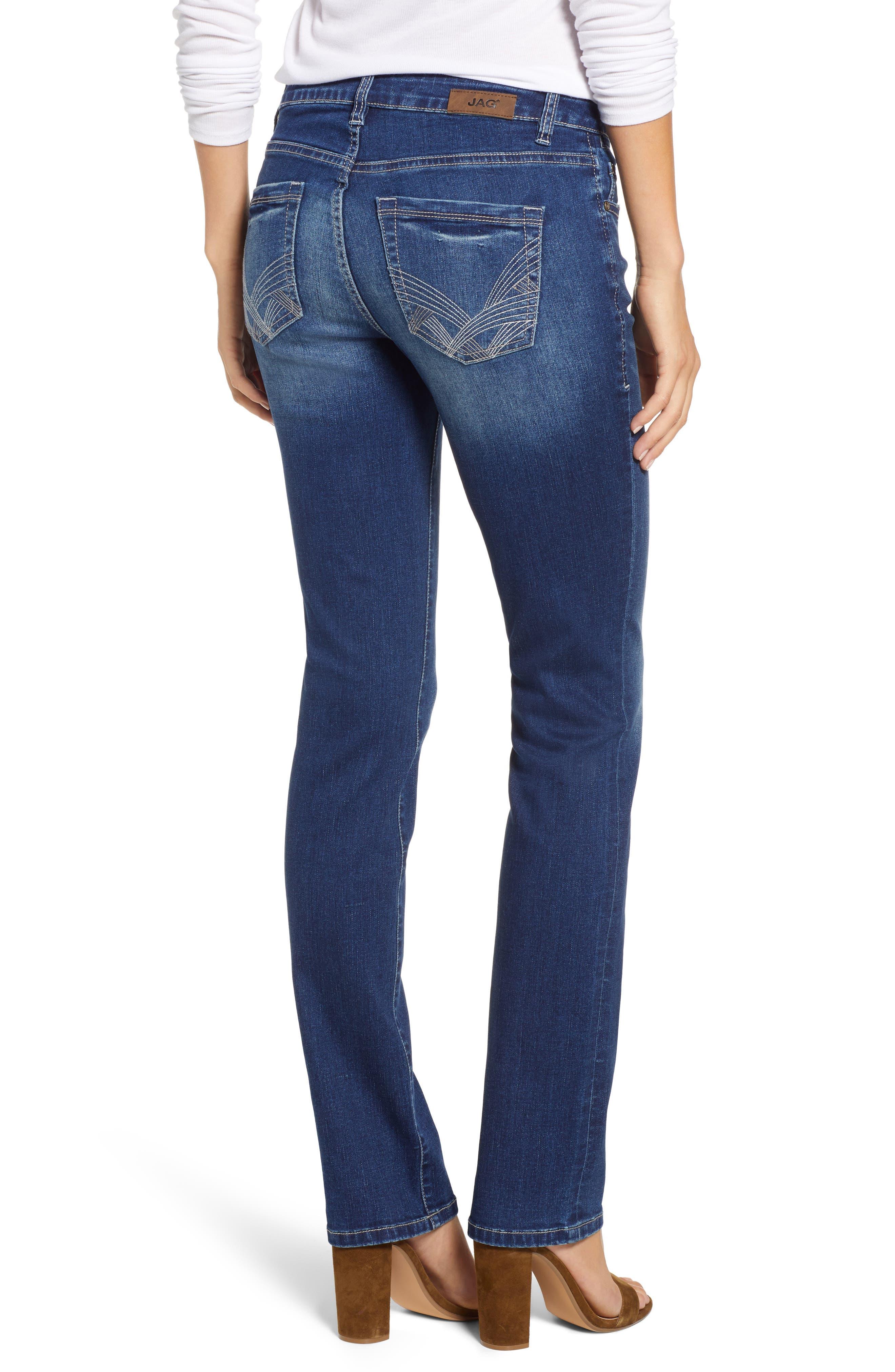 JAG JEANS, Hanna Stretch Straight Leg Jeans, Alternate thumbnail 2, color, MED INDIGO