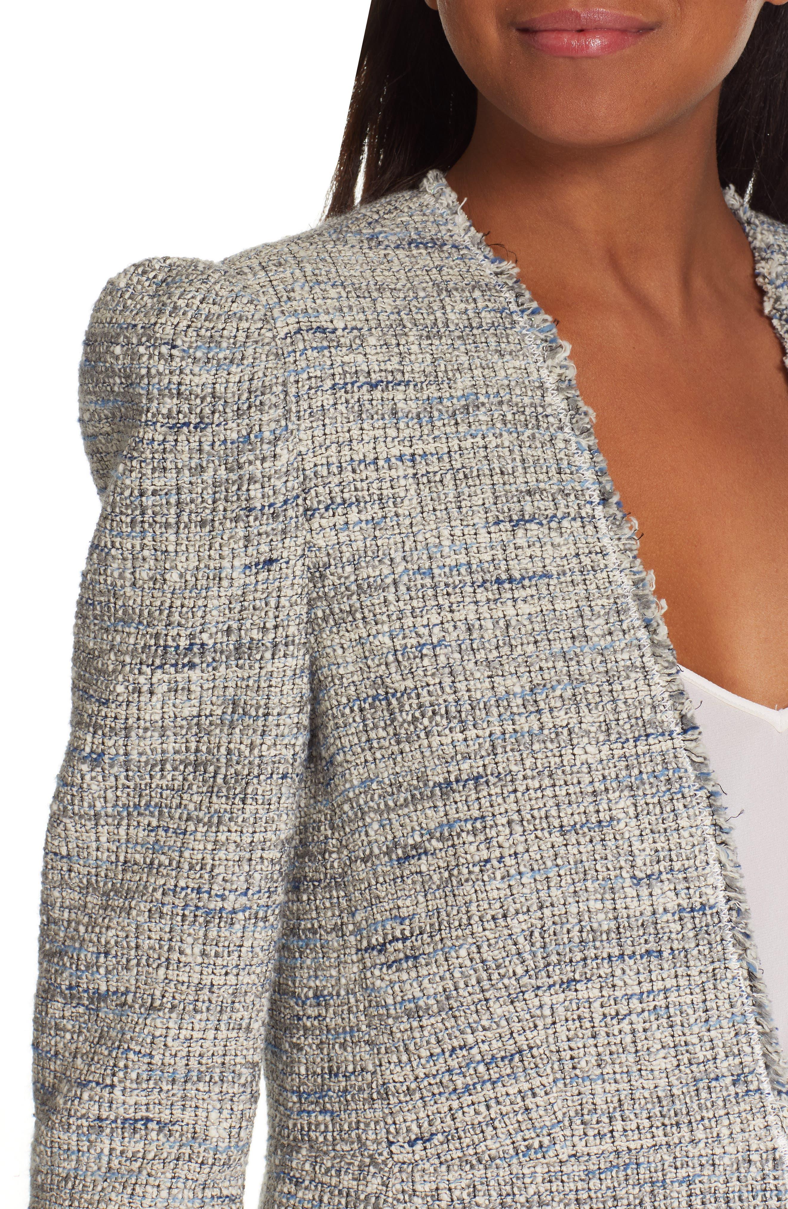 REBECCA TAYLOR, Tweed Peplum Jacket, Alternate thumbnail 5, color, BLUE/ GREY COMBO