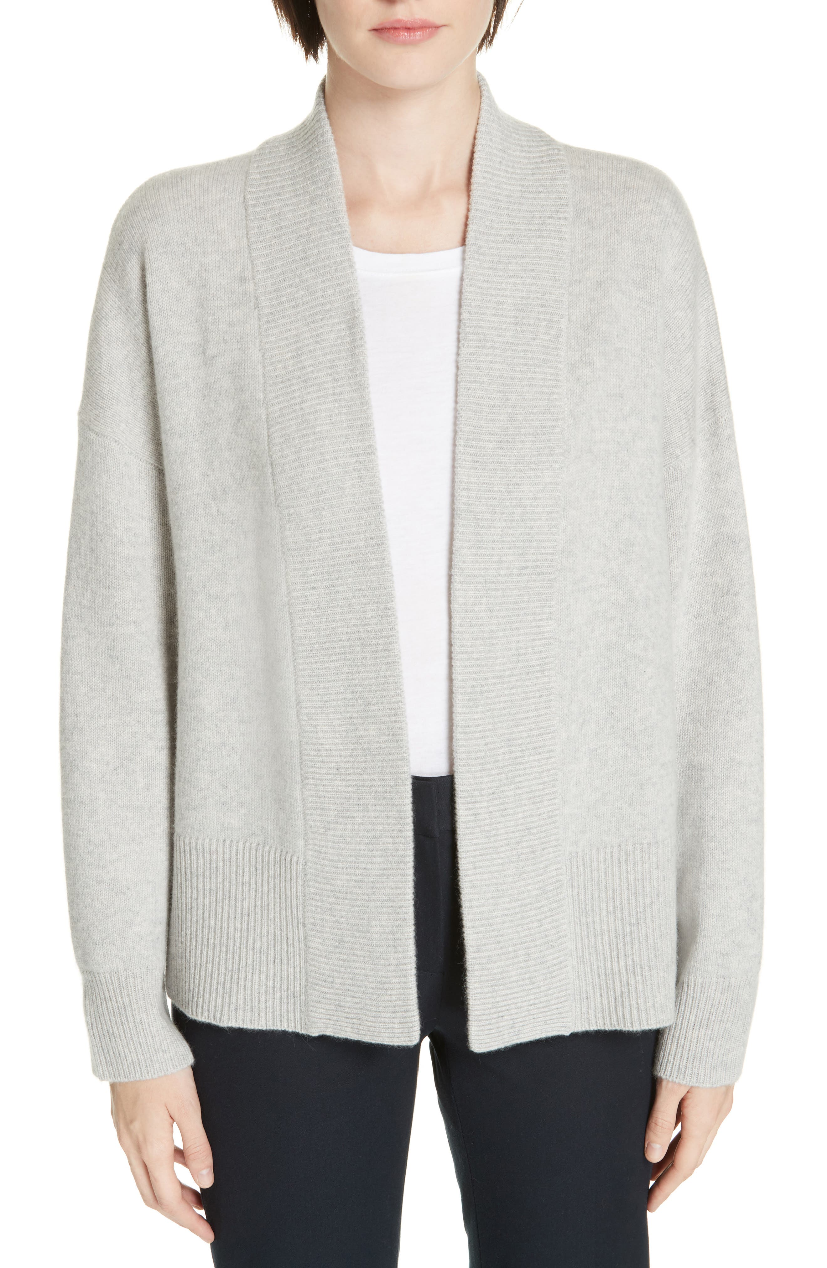 NORDSTROM SIGNATURE, Cashmere Blend Cardigan, Main thumbnail 1, color, GREY CLAY HEATHER