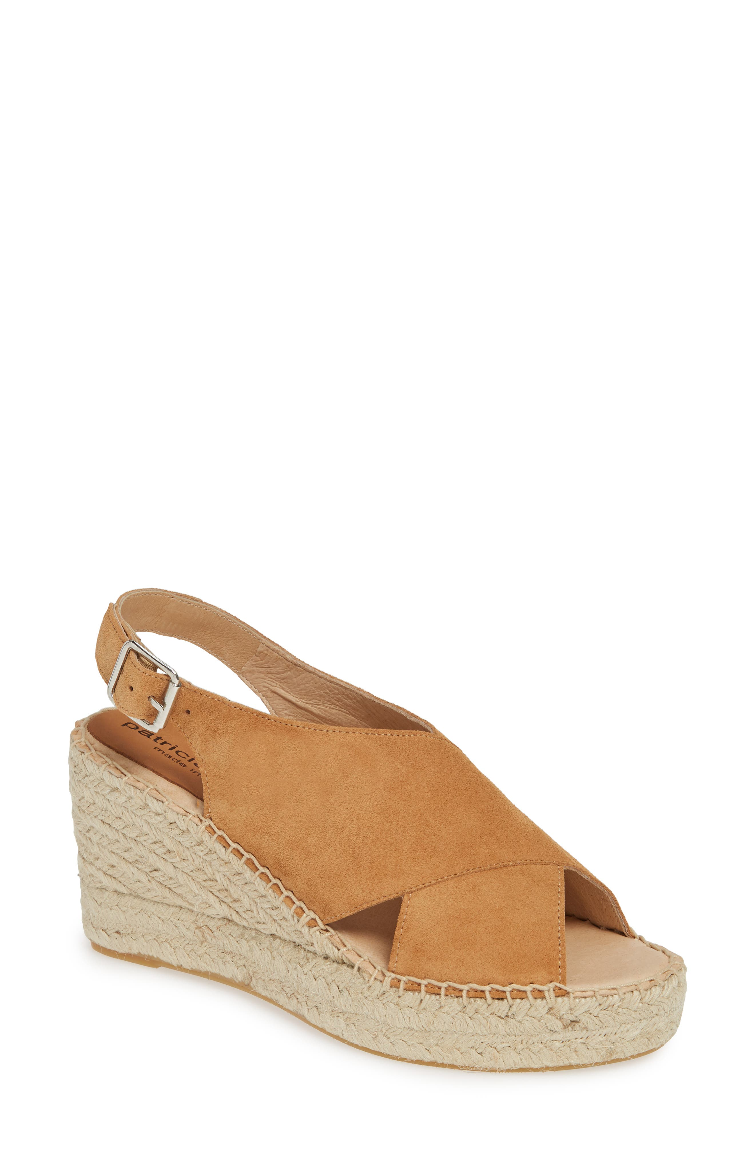 PATRICIA GREEN, Madeline Espadrille Wedge Sandal, Main thumbnail 1, color, CAMEL SUEDE