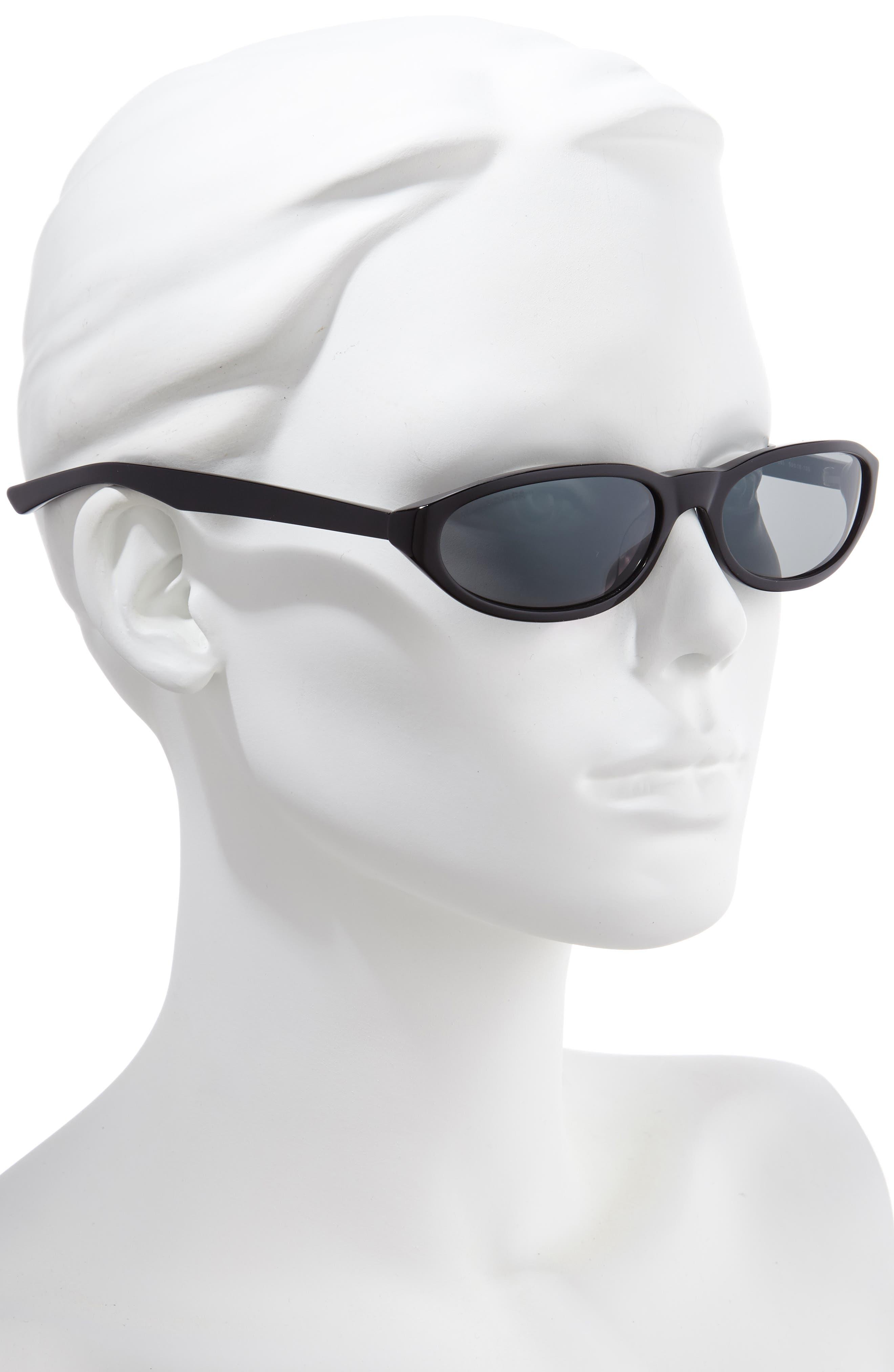 BALENCIAGA, 59mm Cateye Sunglasses, Alternate thumbnail 2, color, SHINY BLACK/ GREY