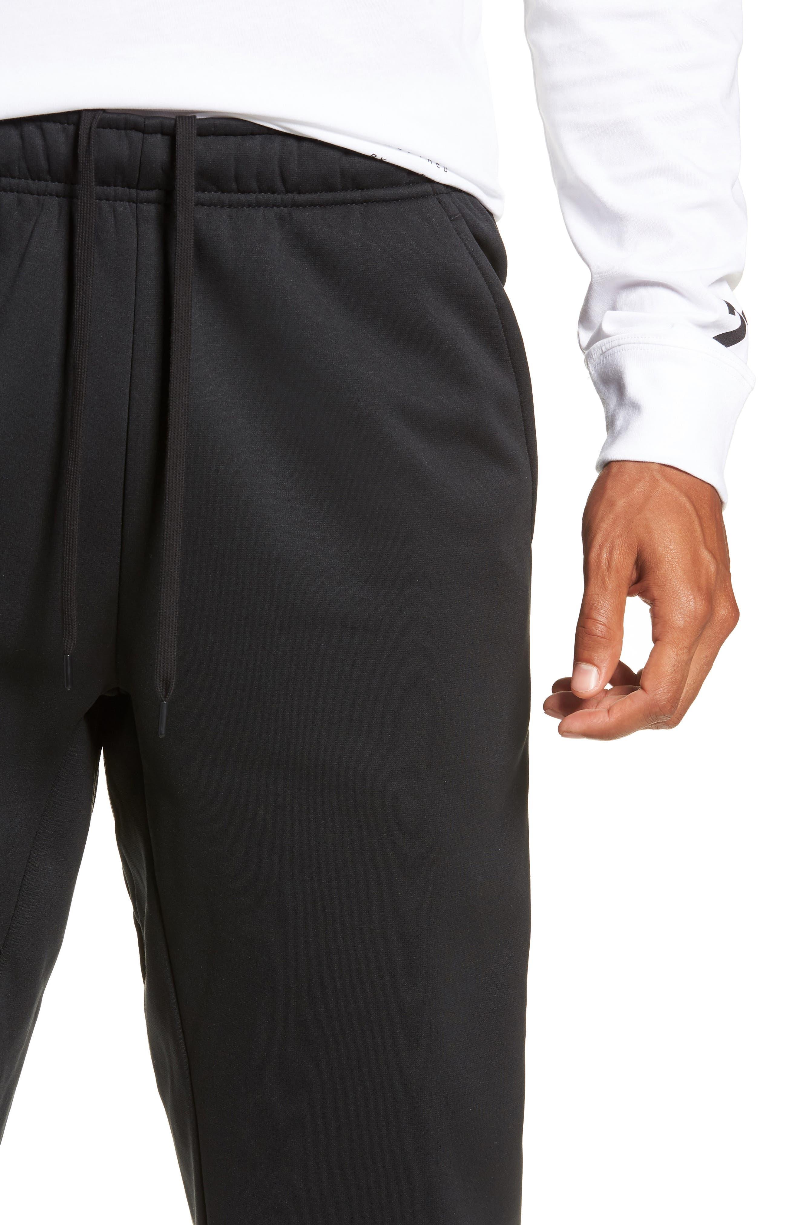 NIKE, Therma Tapered Pants, Alternate thumbnail 5, color, BLACK/ WHITE