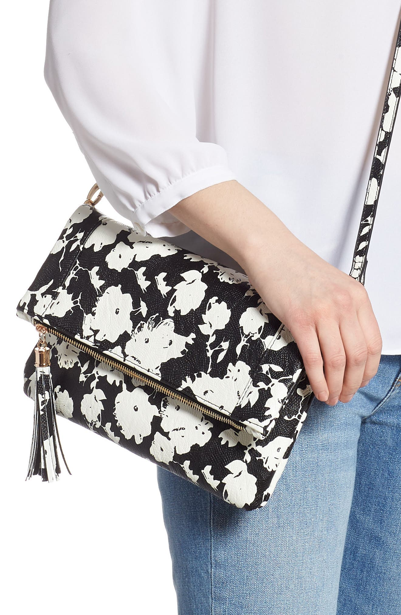 SOLE SOCIETY, 'Tasia' Print Foldover Clutch, Alternate thumbnail 2, color, BLACK FLORAL