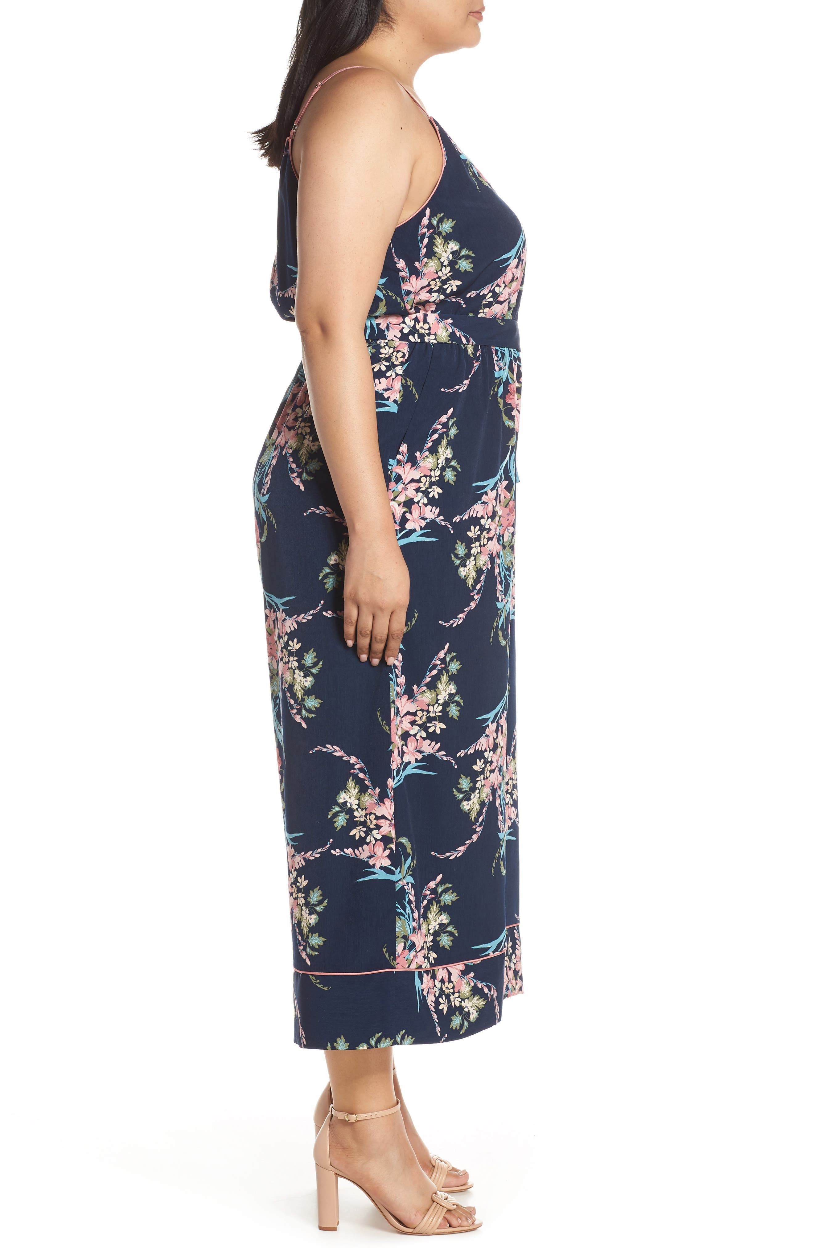 LEITH, Piped Cami Jumpsuit, Alternate thumbnail 10, color, NAVY PEACOAT FEM FLORAL