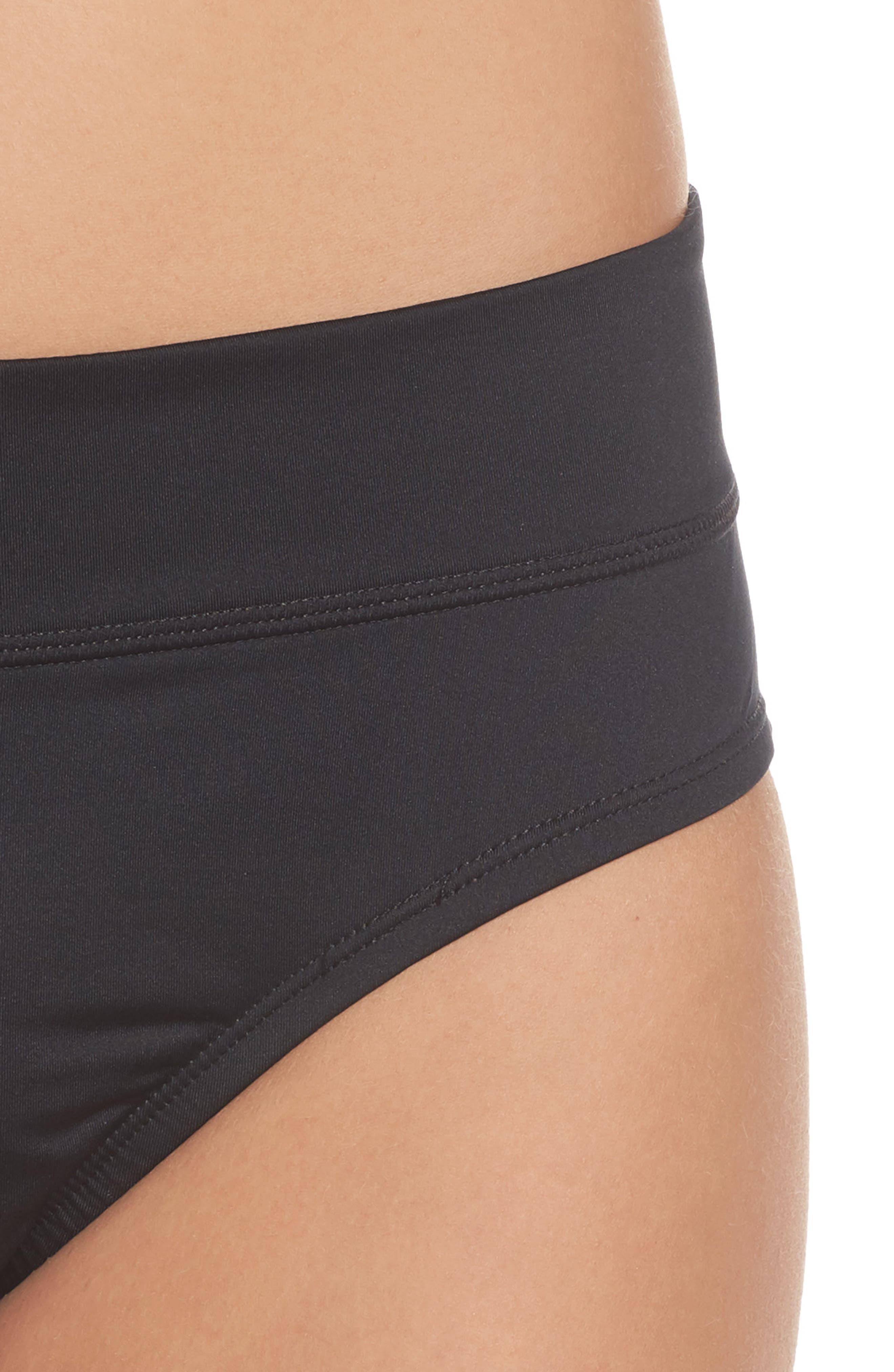 NIKE, Full Bikini Bottoms, Alternate thumbnail 5, color, BLACK