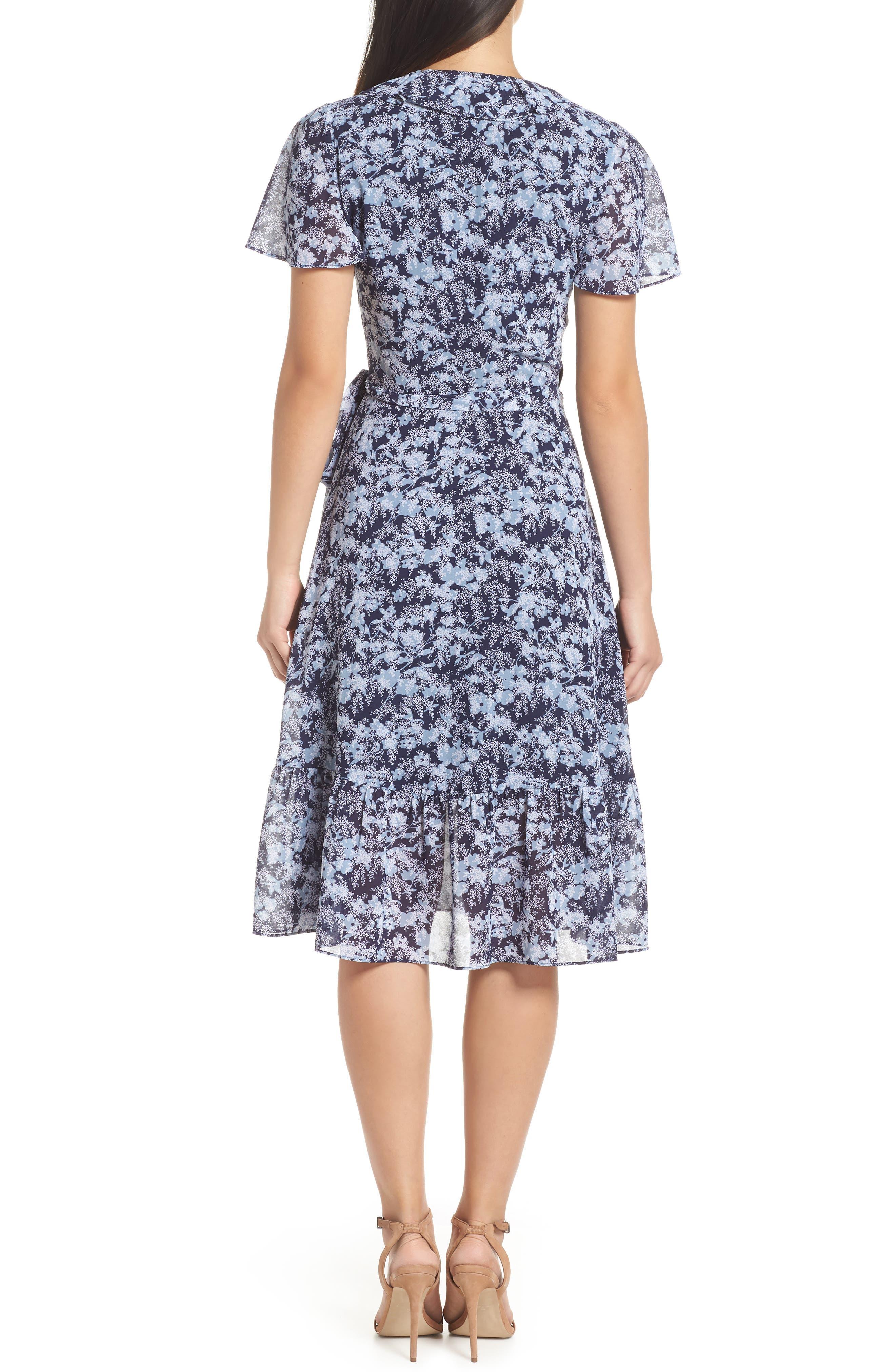MICHAEL MICHAEL KORS, Ruffle Wrap Dress, Alternate thumbnail 2, color, TRUE NAVY/CHAMBRAY