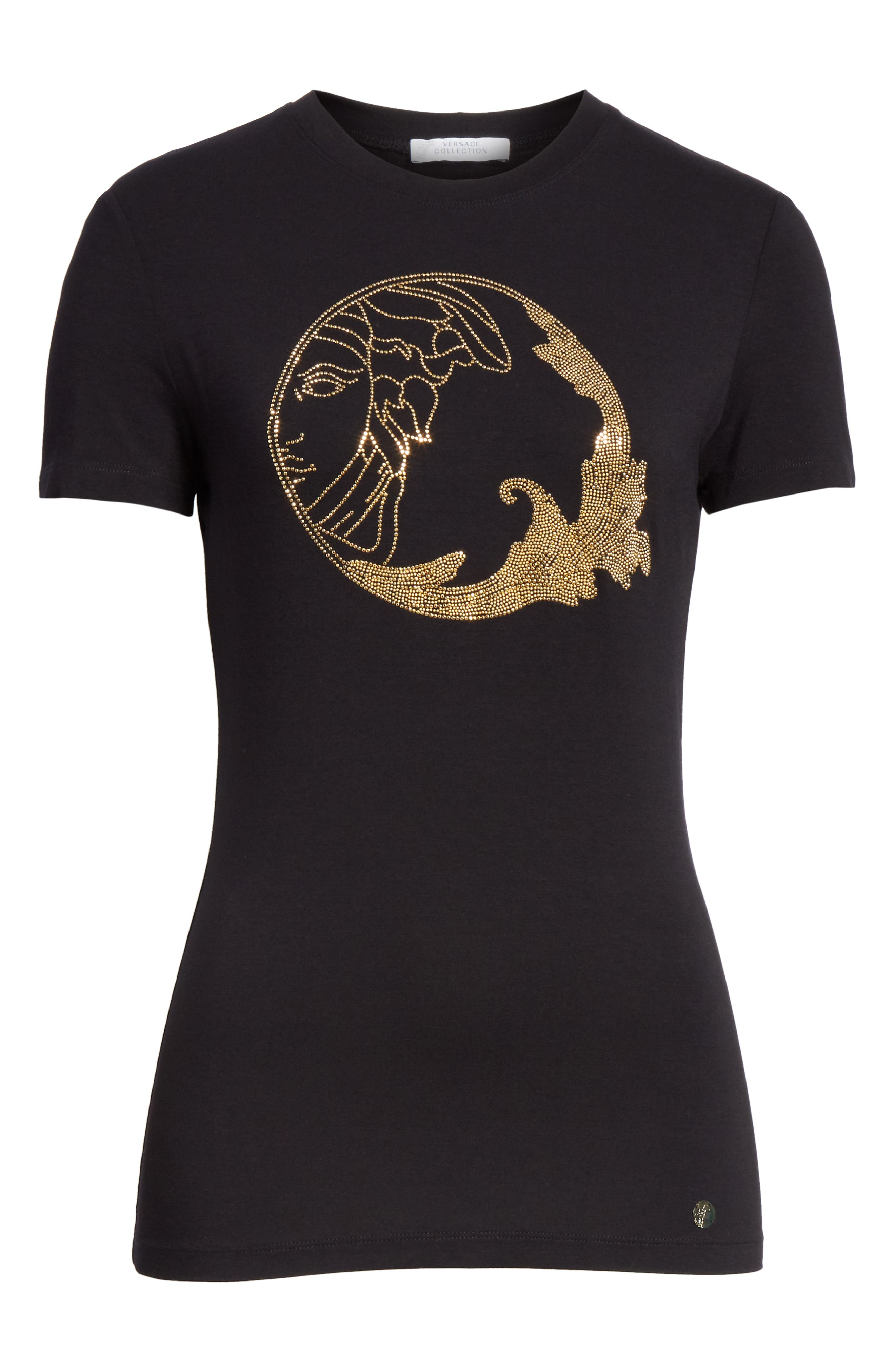 VERSACE COLLECTION, Medusa Crystal Embellished Jersey Tee, Alternate thumbnail 6, color, BLACK