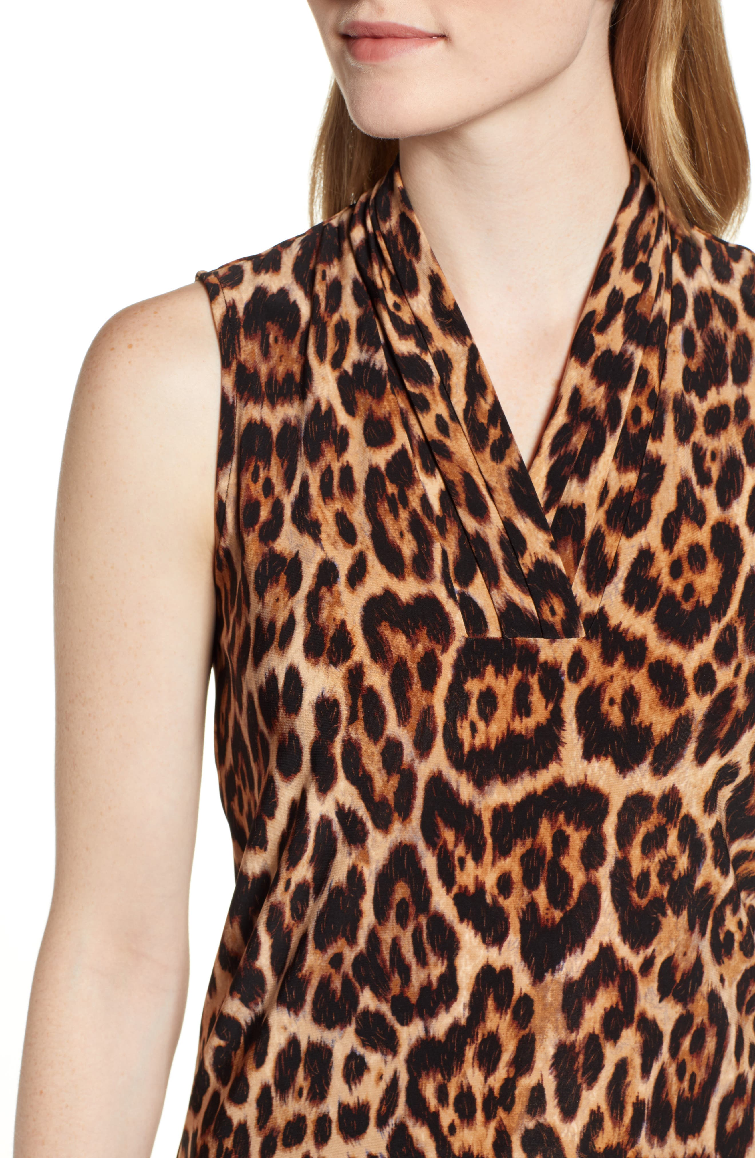 ANNE KLEIN, Animal Print Sleeveless Top, Alternate thumbnail 4, color, SIENA COMBO