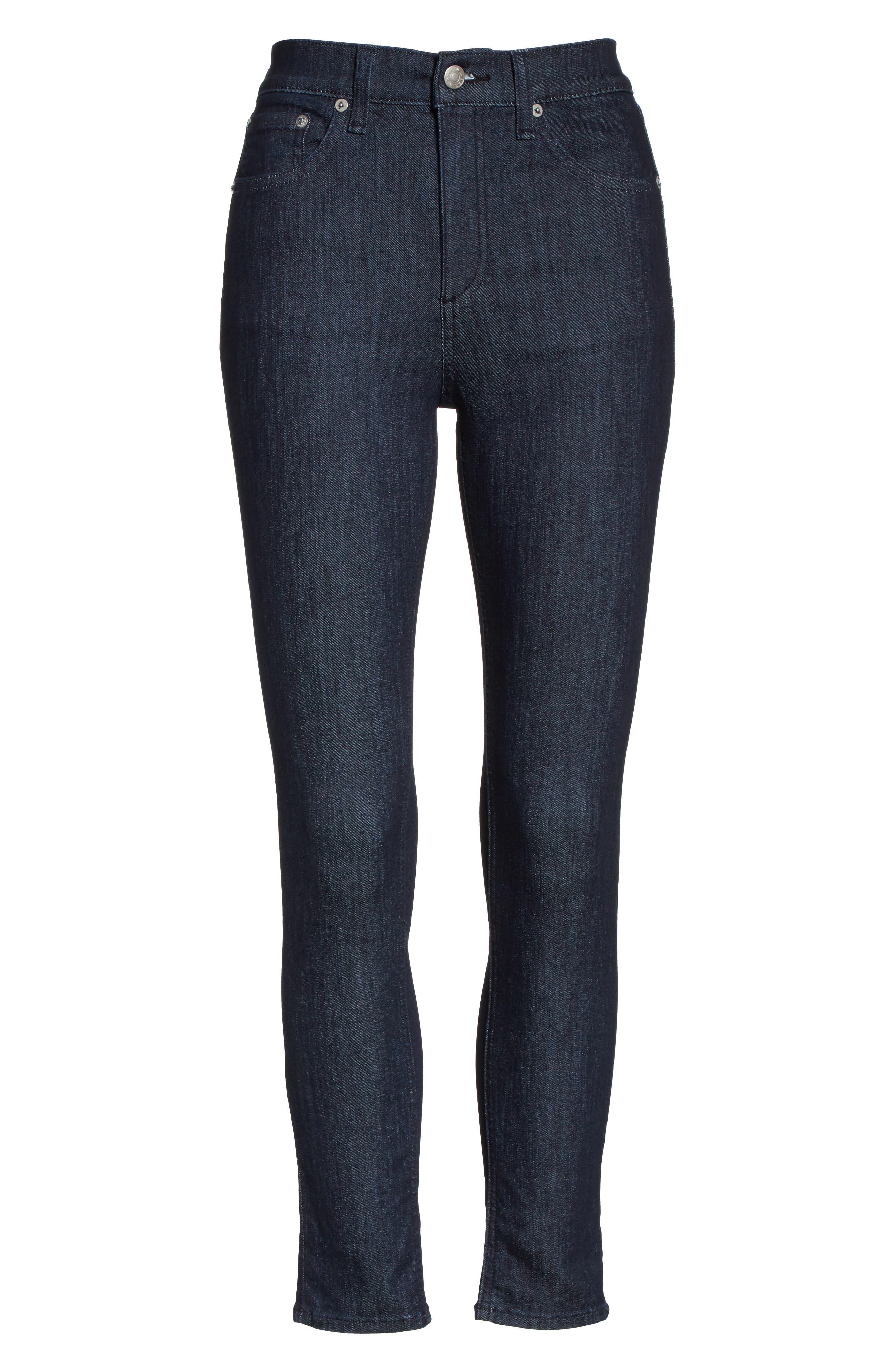 RAG & BONE, High Waist Skinny Jeans, Alternate thumbnail 7, color, INDIGO