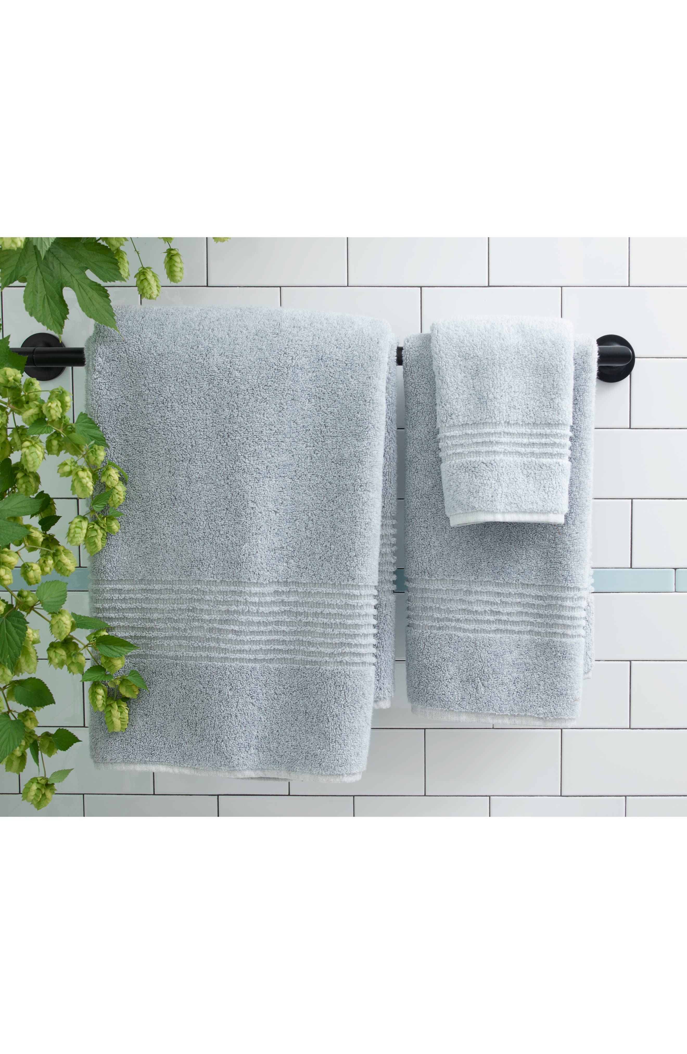 NORDSTROM AT HOME, Organic Hydrocotton Heathered Hand Towel, Alternate thumbnail 3, color, WHITE