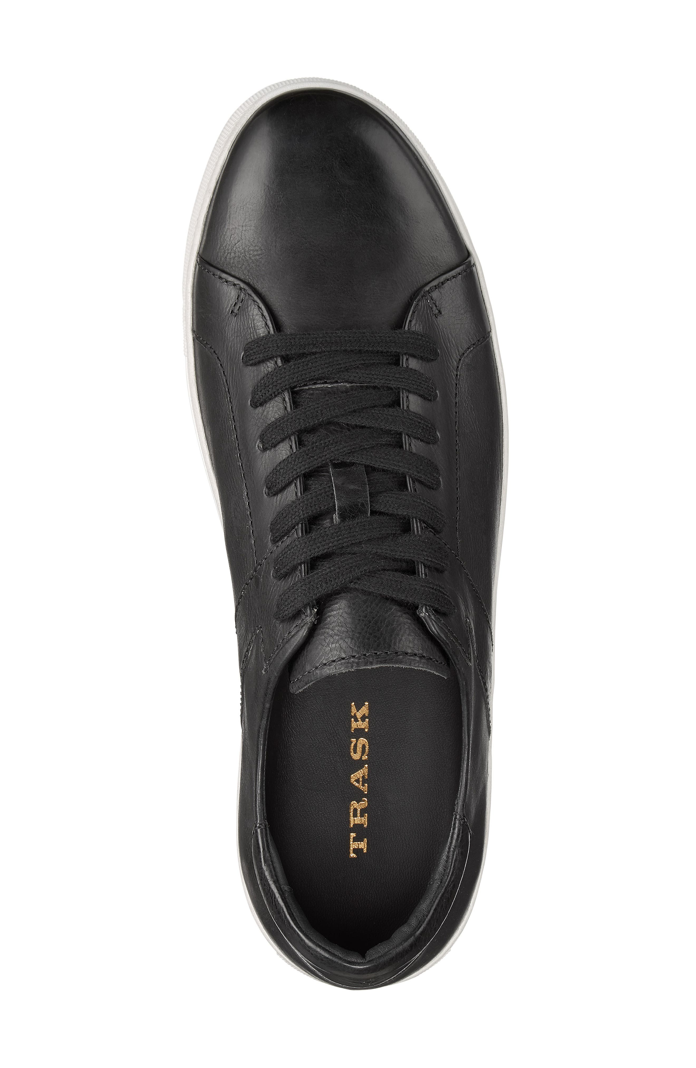 TRASK, Aaron Sneaker, Alternate thumbnail 5, color, BLACK LEATHER