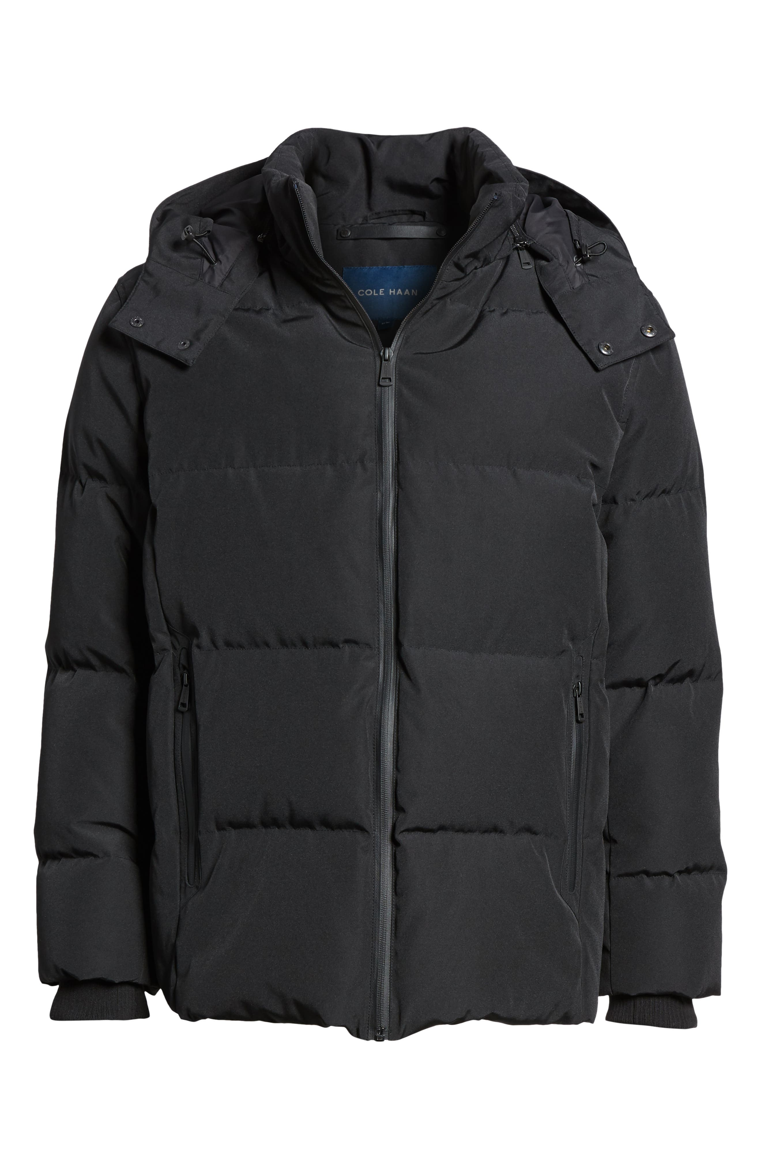 COLE HAAN SIGNATURE, Hooded Puffer Jacket, Alternate thumbnail 6, color, 001