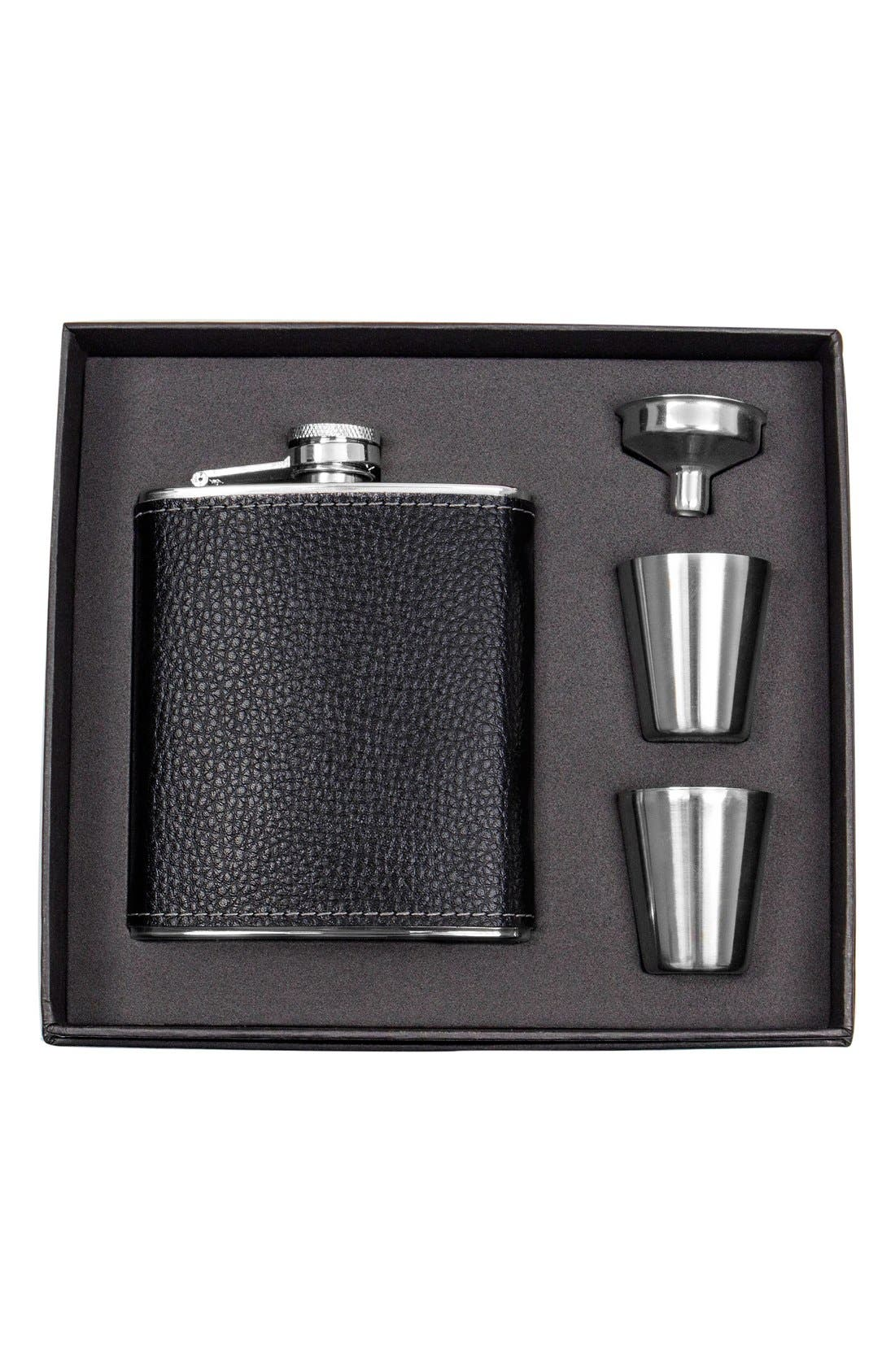 CATHY'S CONCEPTS, Monogram Flask Set, Main thumbnail 1, color, BLACK - BLANK