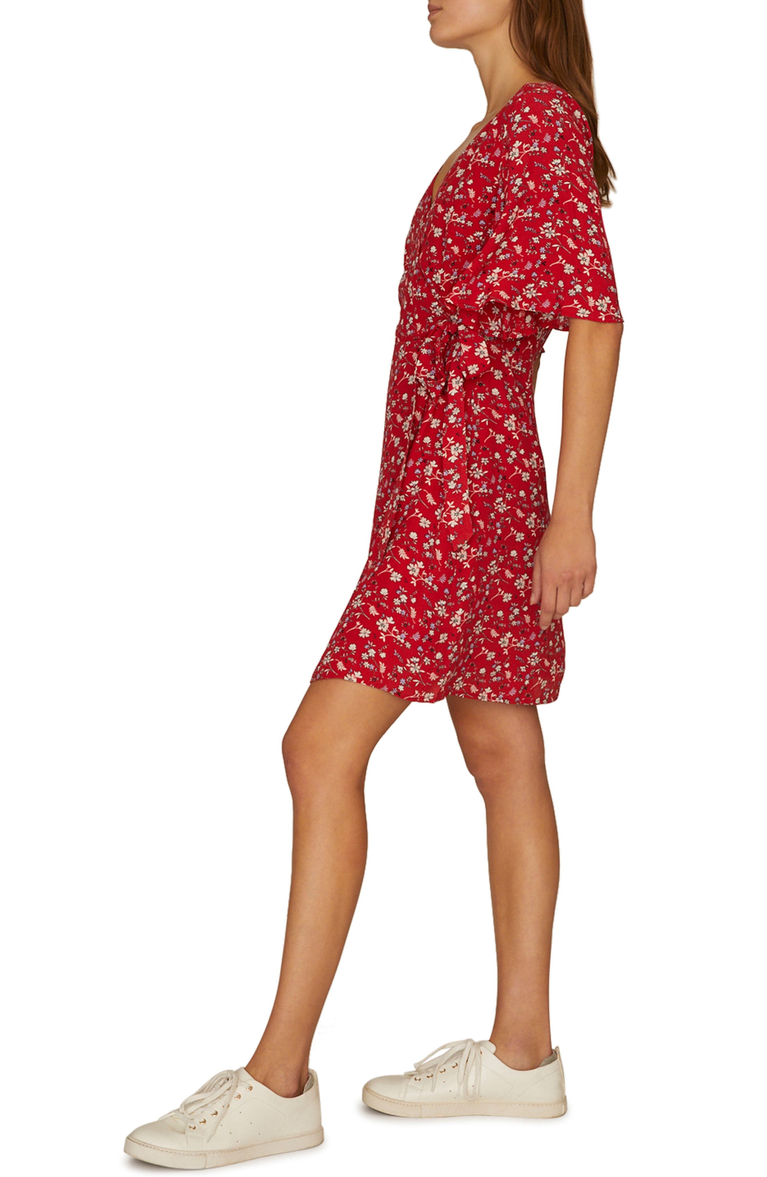 SANCTUARY, Girl on Fire Faux Wrap Dress, Alternate thumbnail 3, color, SIMPLY RED
