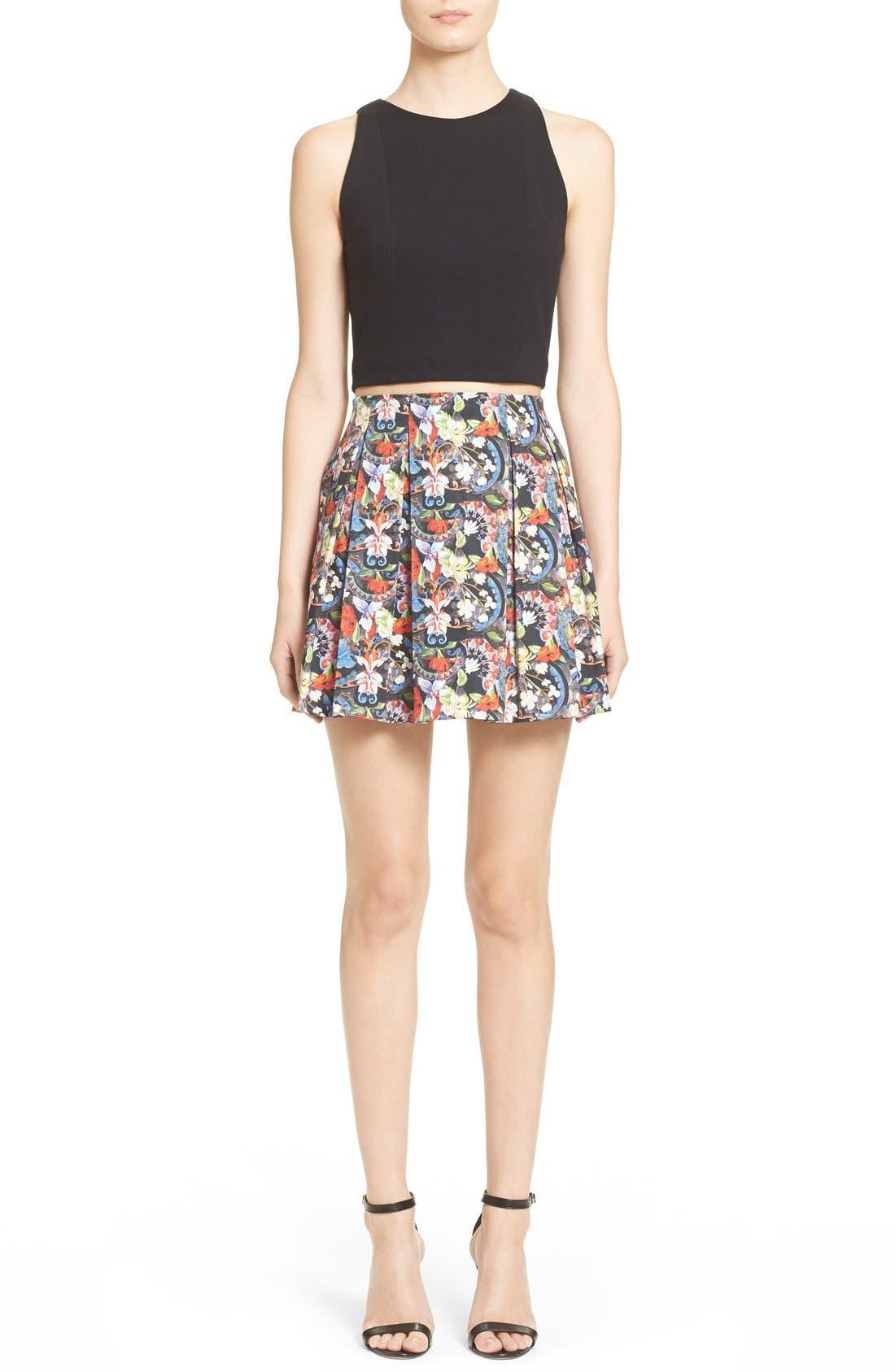 ALICE + OLIVIA, 'Parson' Floral Print Pleated Miniskirt, Alternate thumbnail 6, color, 605