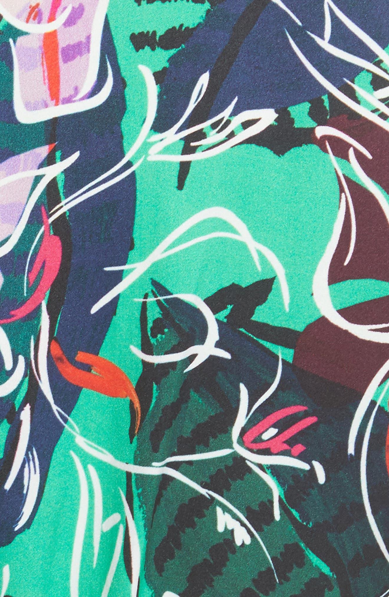 SALONI, Eden Floral Print Silk Midi Dress, Alternate thumbnail 5, color, EMERALD KINGCUP