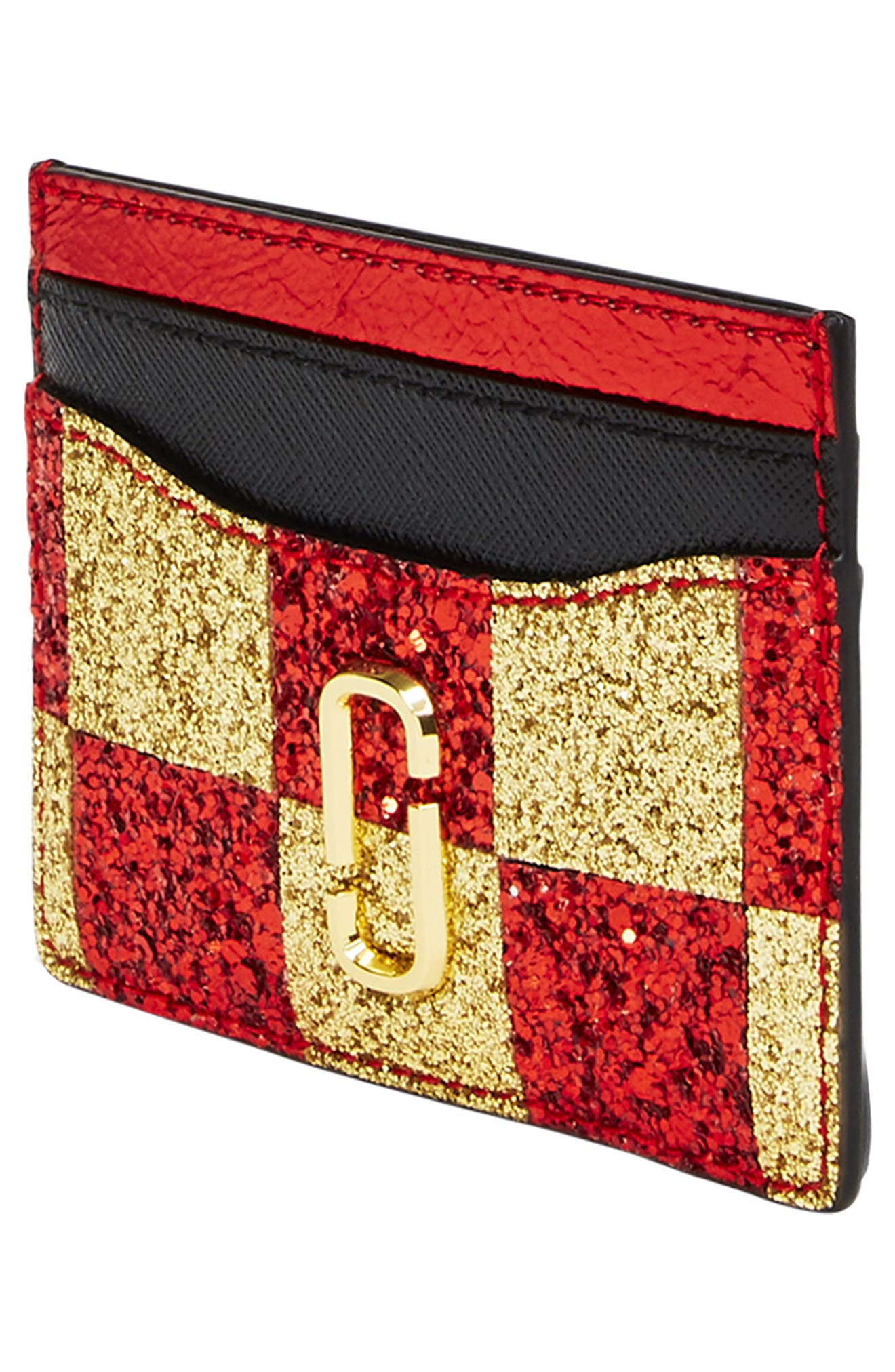 MARC JACOBS, Snapshot Glitter Checkerboard Card Case, Alternate thumbnail 3, color, GOLD MULTI