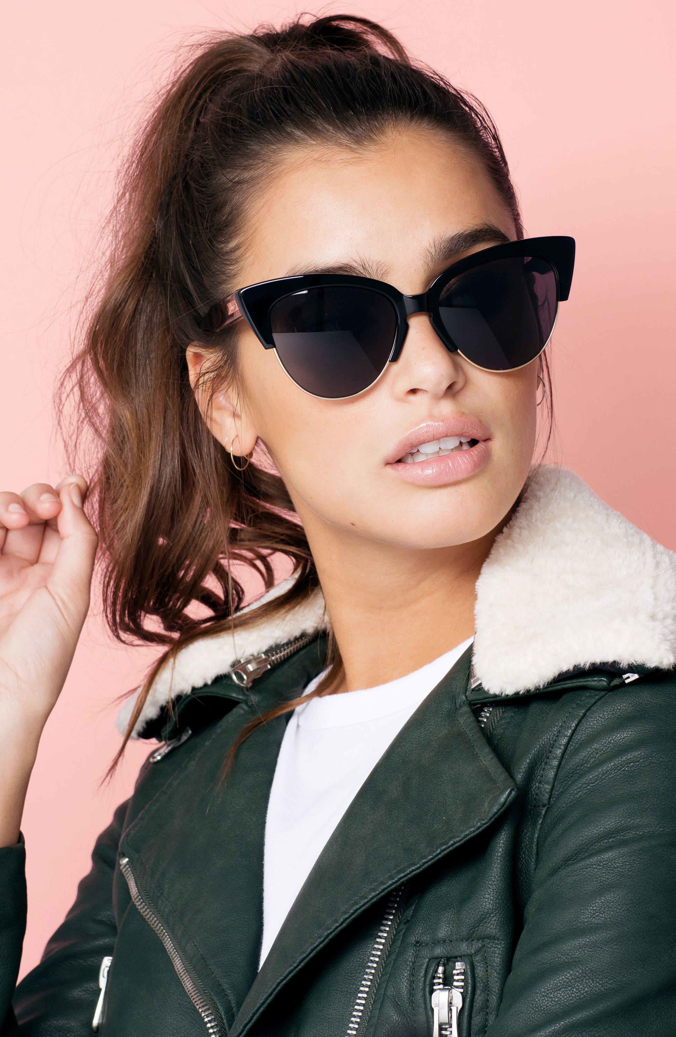 SONIX, Dafni 56mm Gradient Cat Eye Sunglasses, Alternate thumbnail 3, color, 001