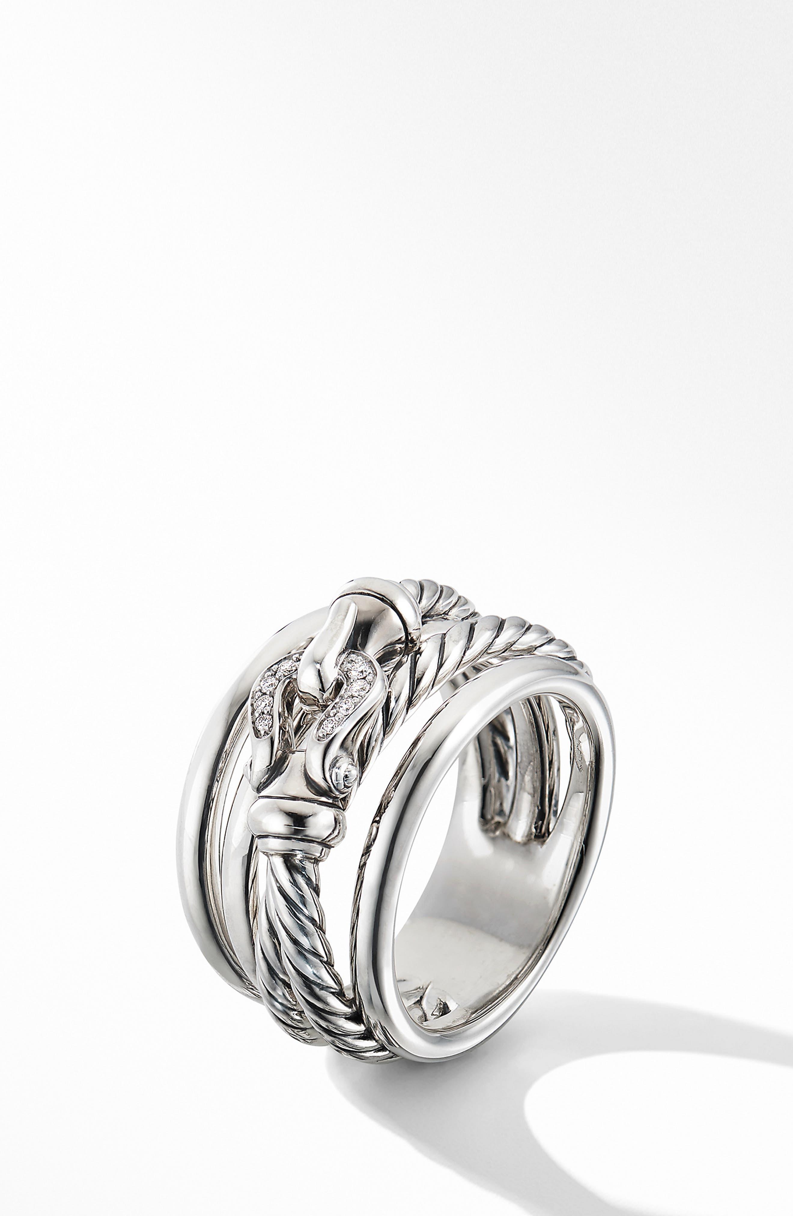 DAVID YURMAN, Buckle Ring with Diamonds, Alternate thumbnail 2, color, SILVER/ DIAMOND