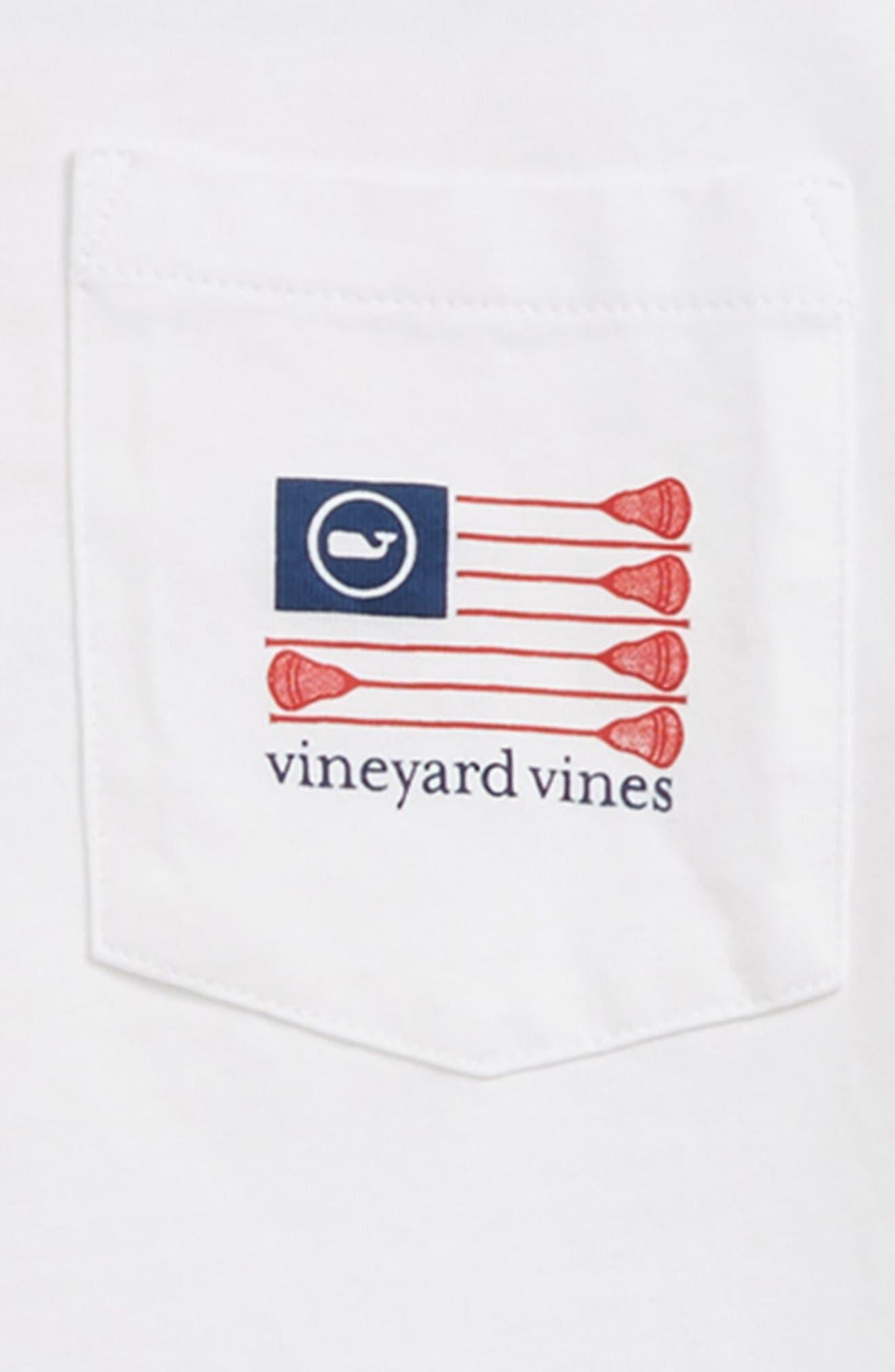 VINEYARD VINES, Lacrosse Flag Pocket T-Shirt, Alternate thumbnail 3, color, 100