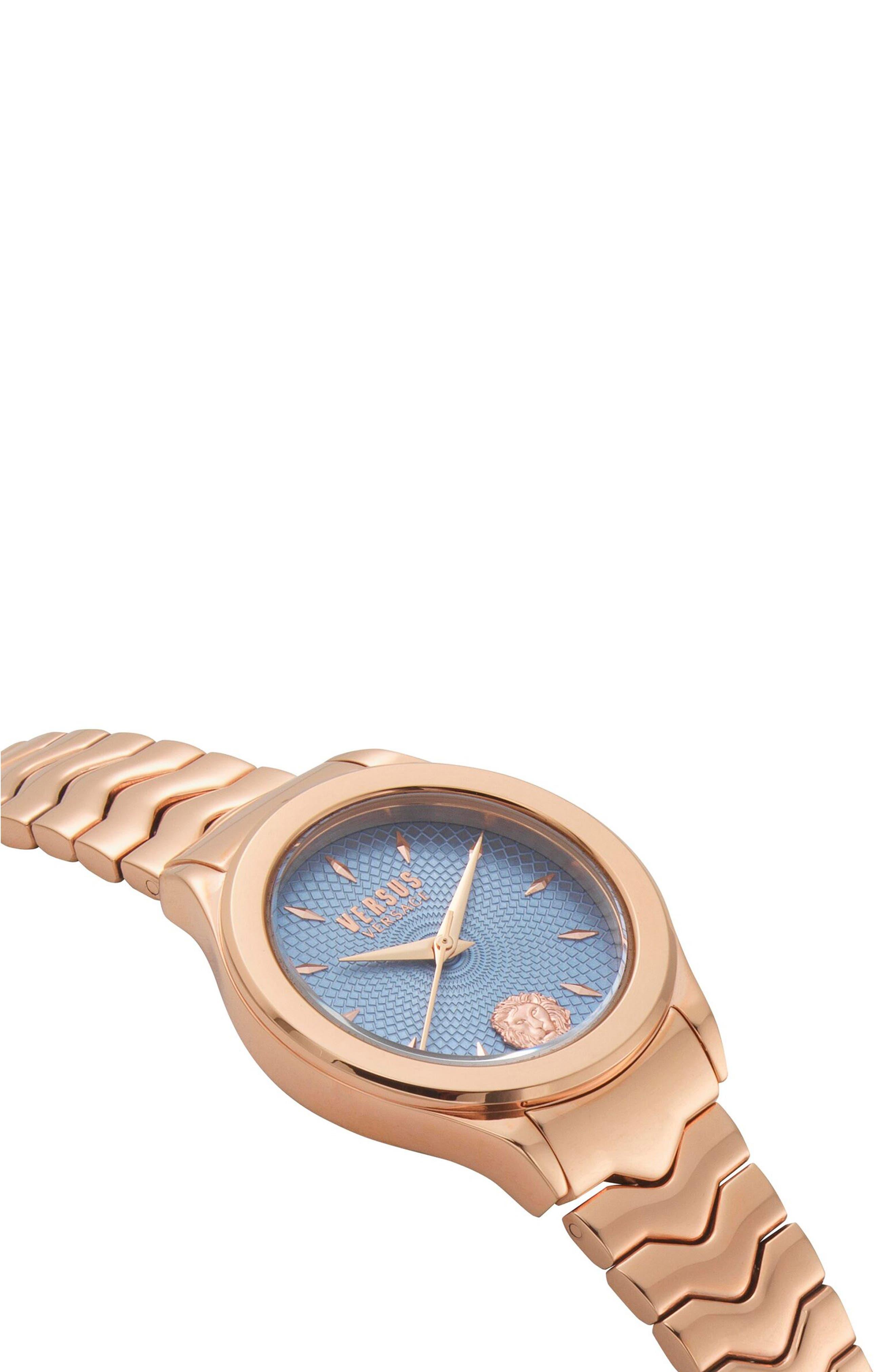 VERSUS VERSACE, Mount Pleasant Bracelet Watch, 34mm, Alternate thumbnail 3, color, ROSE GOLD/ BLUE/ ROSE GOLD