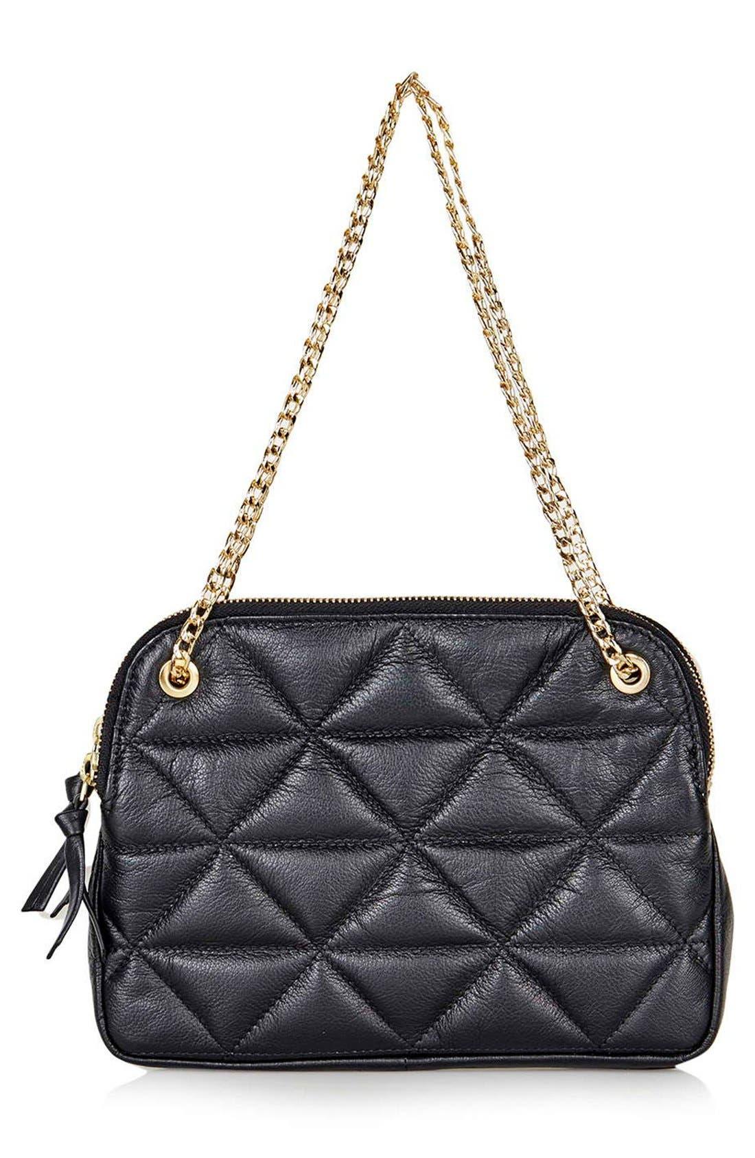 TOPSHOP Quilted Leather Shoulder Bag, Main, color, 001