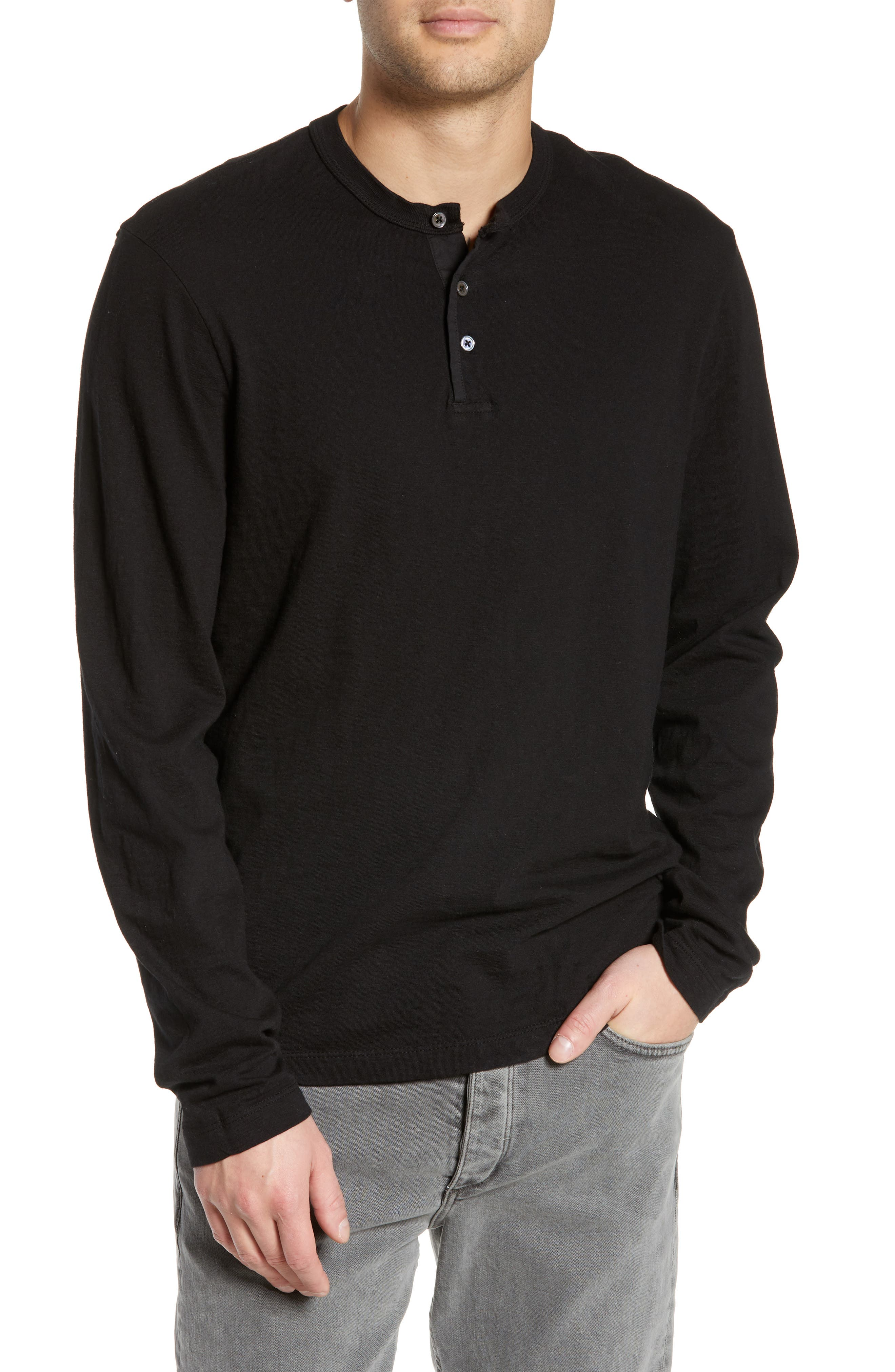 JAMES PERSE, Slim Fit Long Sleeve Henley, Main thumbnail 1, color, 001