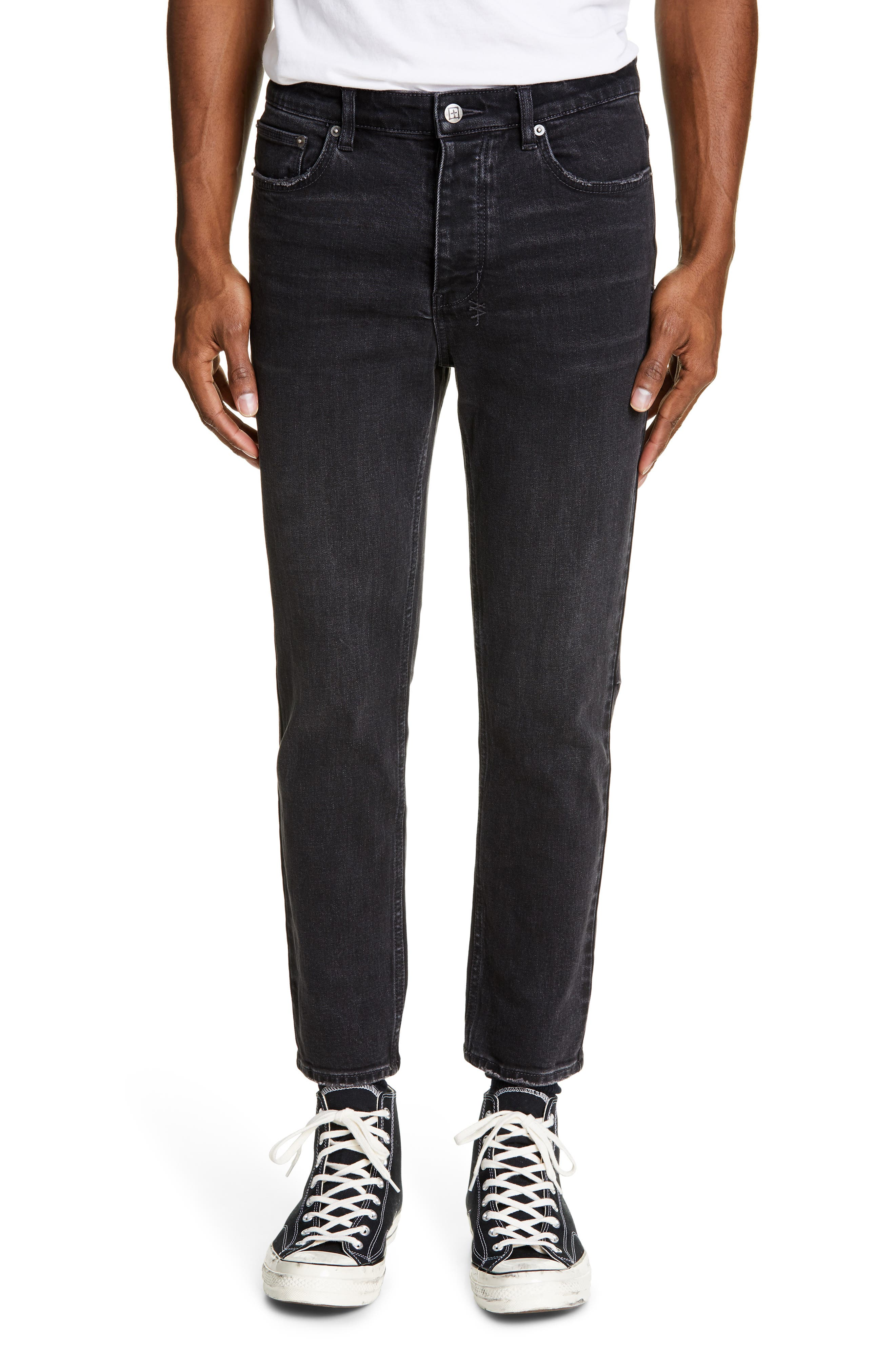 KSUBI, Chitch Hard Rock Skinny Fit Crop Jeans, Main thumbnail 1, color, BLACK