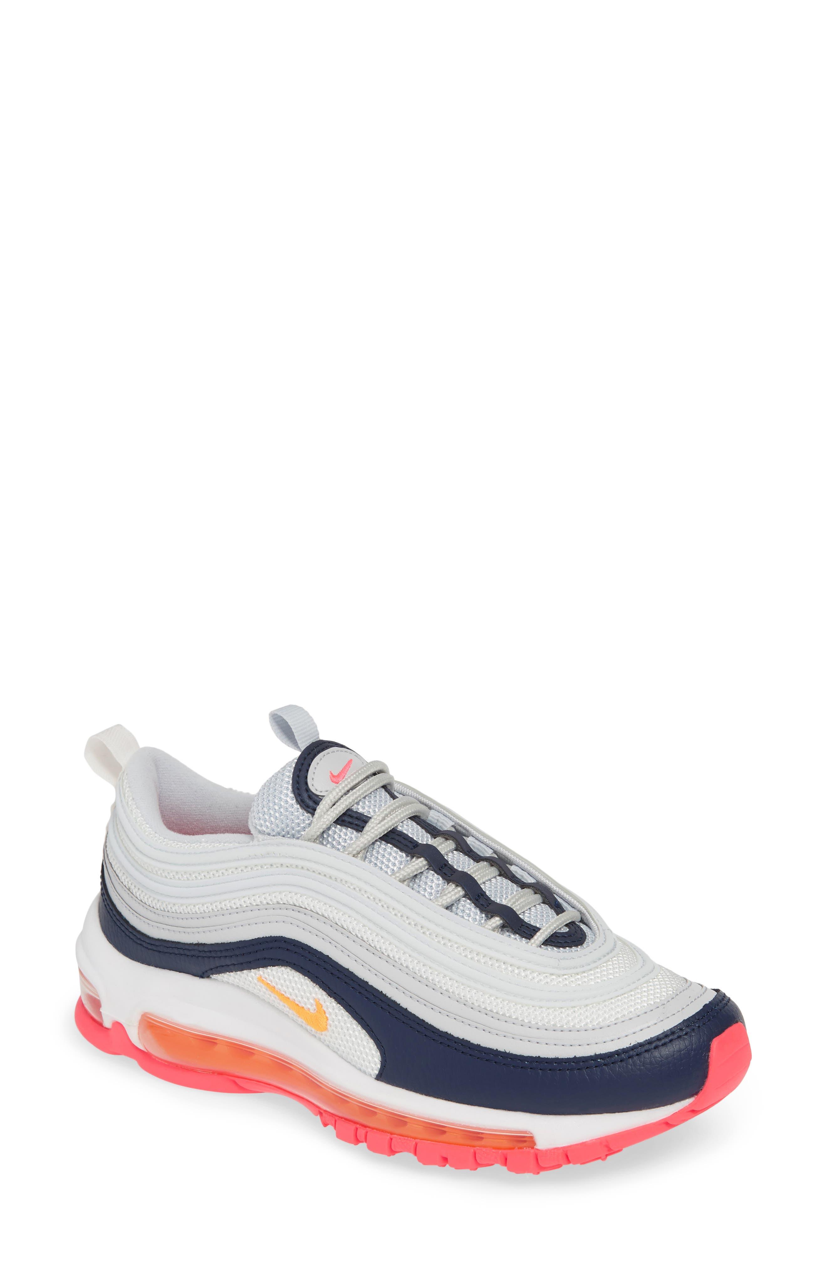 NIKE, Air Max 97 Sneaker, Main thumbnail 1, color, PLATINUM/ LASER ORANGE/ NAVY