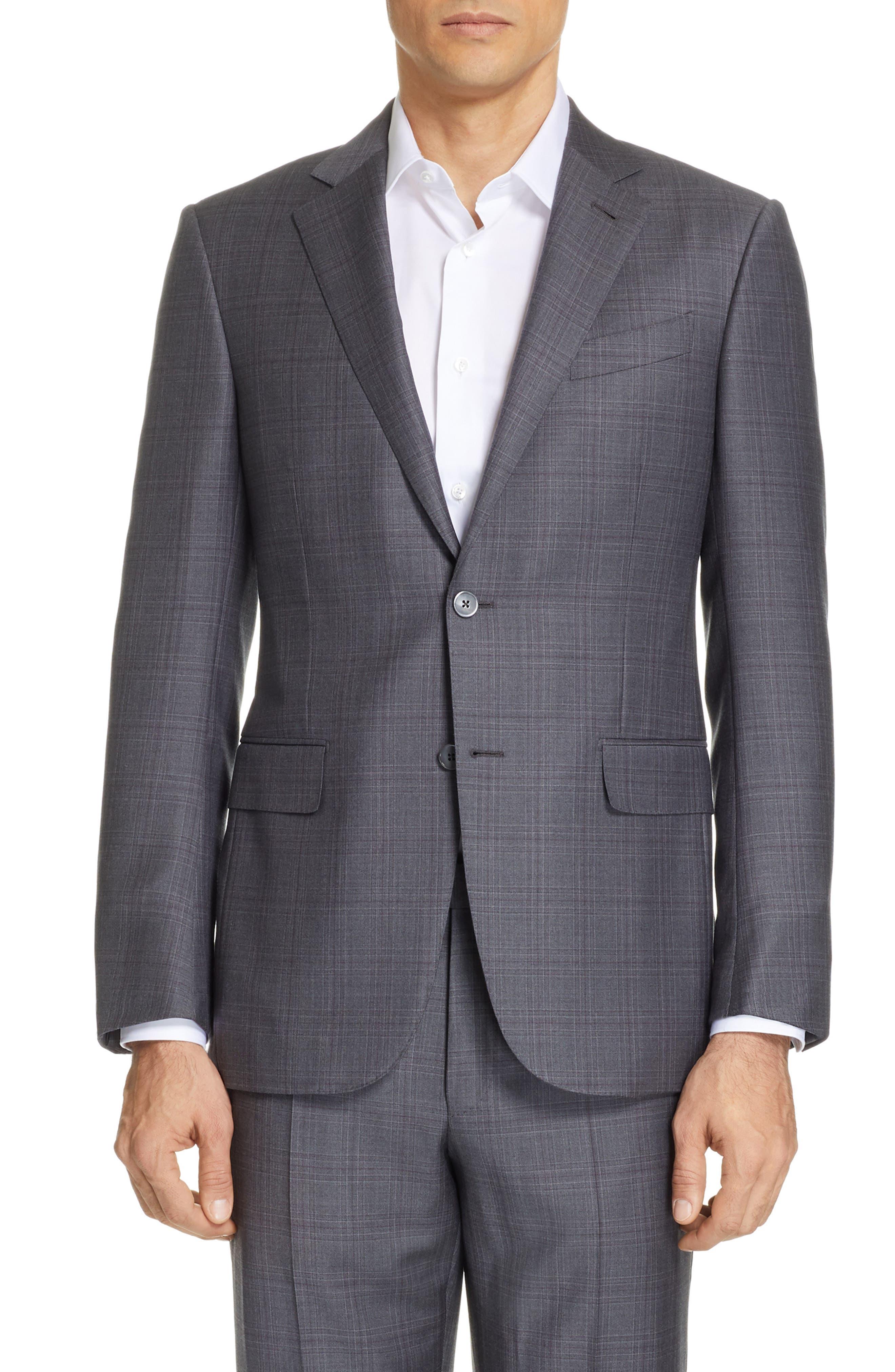 ERMENEGILDO ZEGNA, Milano Trofeo Classic Fit Plaid Wool Suit, Alternate thumbnail 5, color, GREY