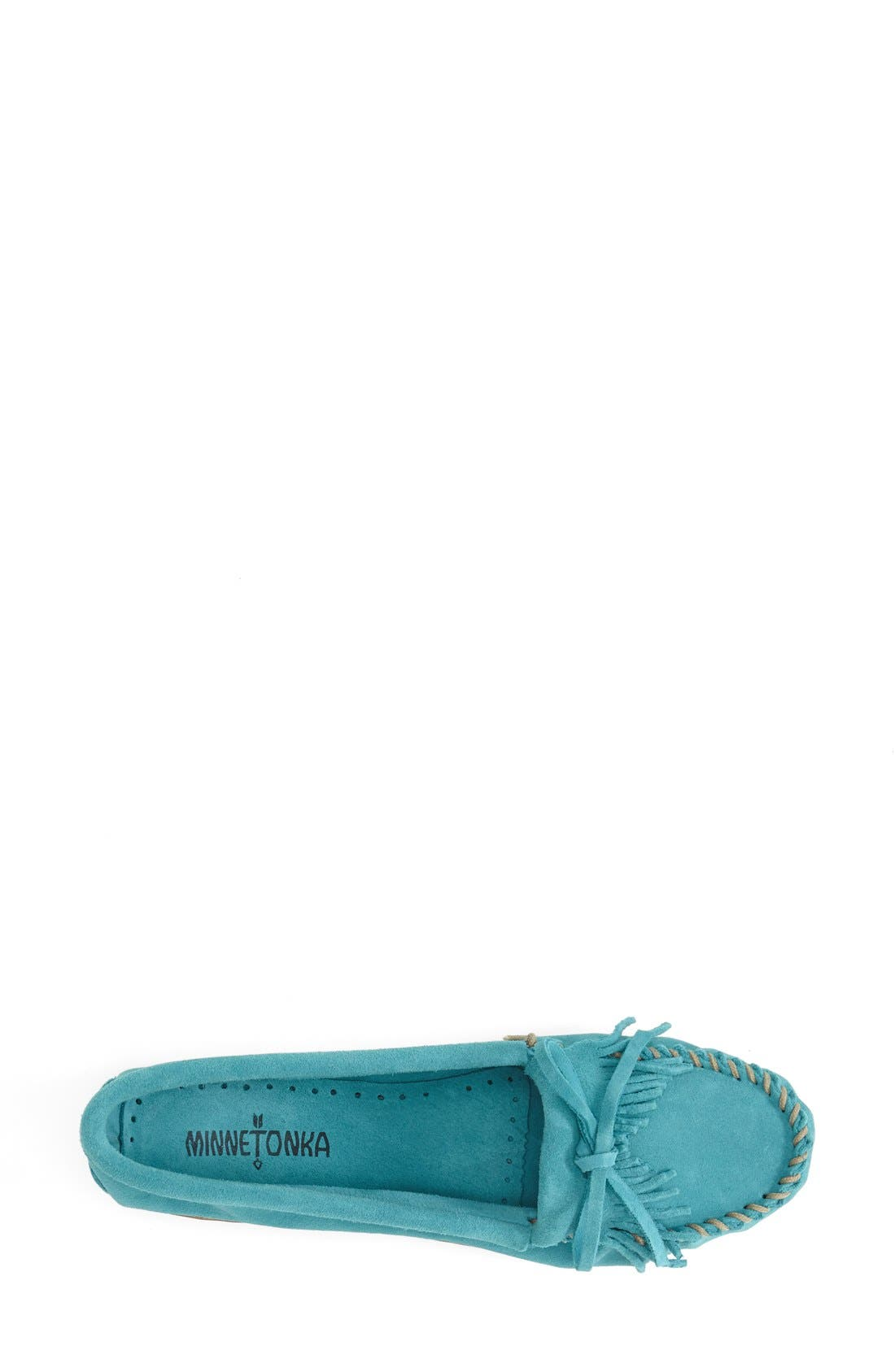 MINNETONKA, 'Kilty' Suede Moccasin, Alternate thumbnail 4, color, TURQUOISE