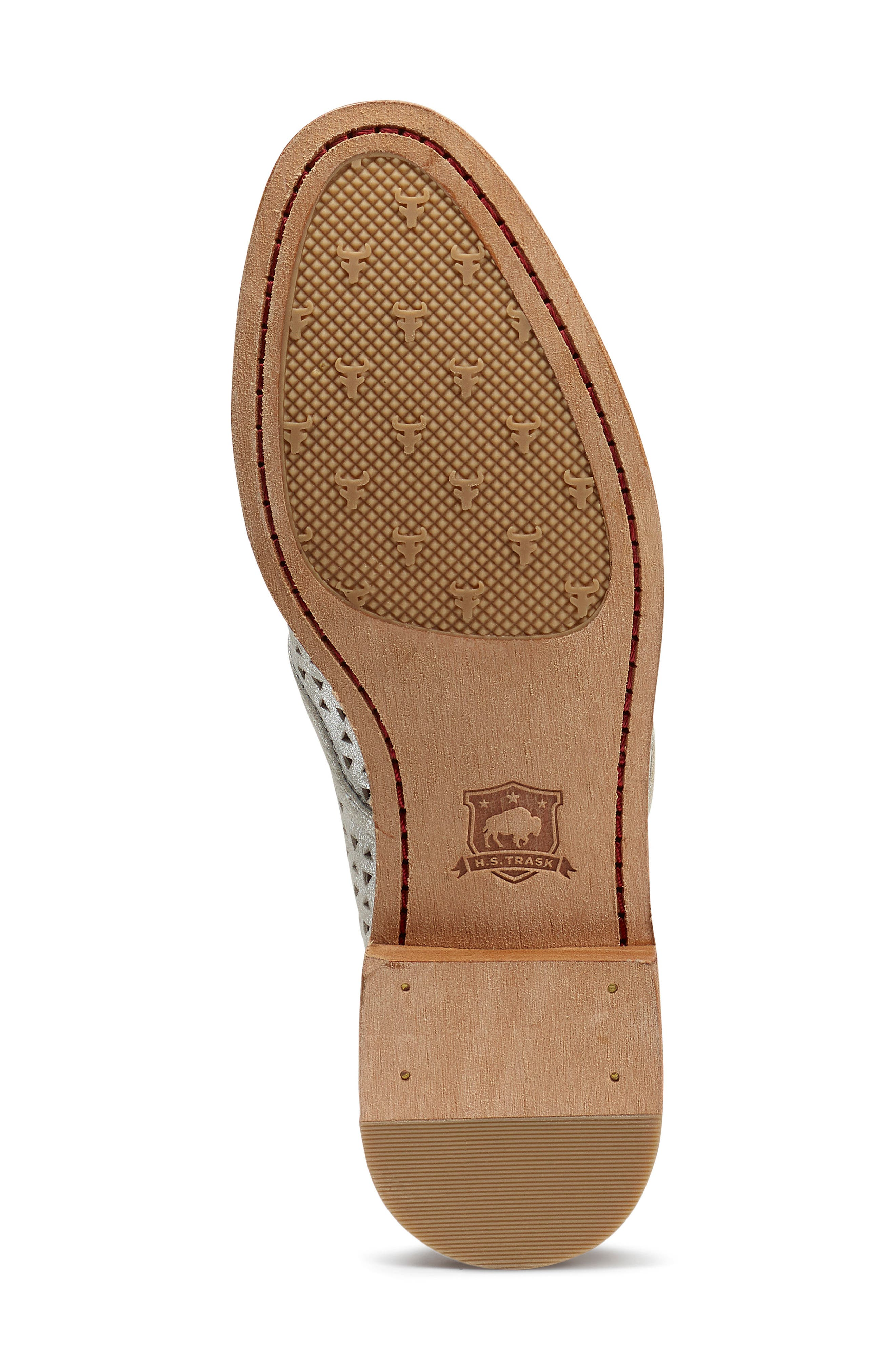 TRASK, Ali Perforated Loafer, Alternate thumbnail 6, color, IVORY METALLIC SUEDE