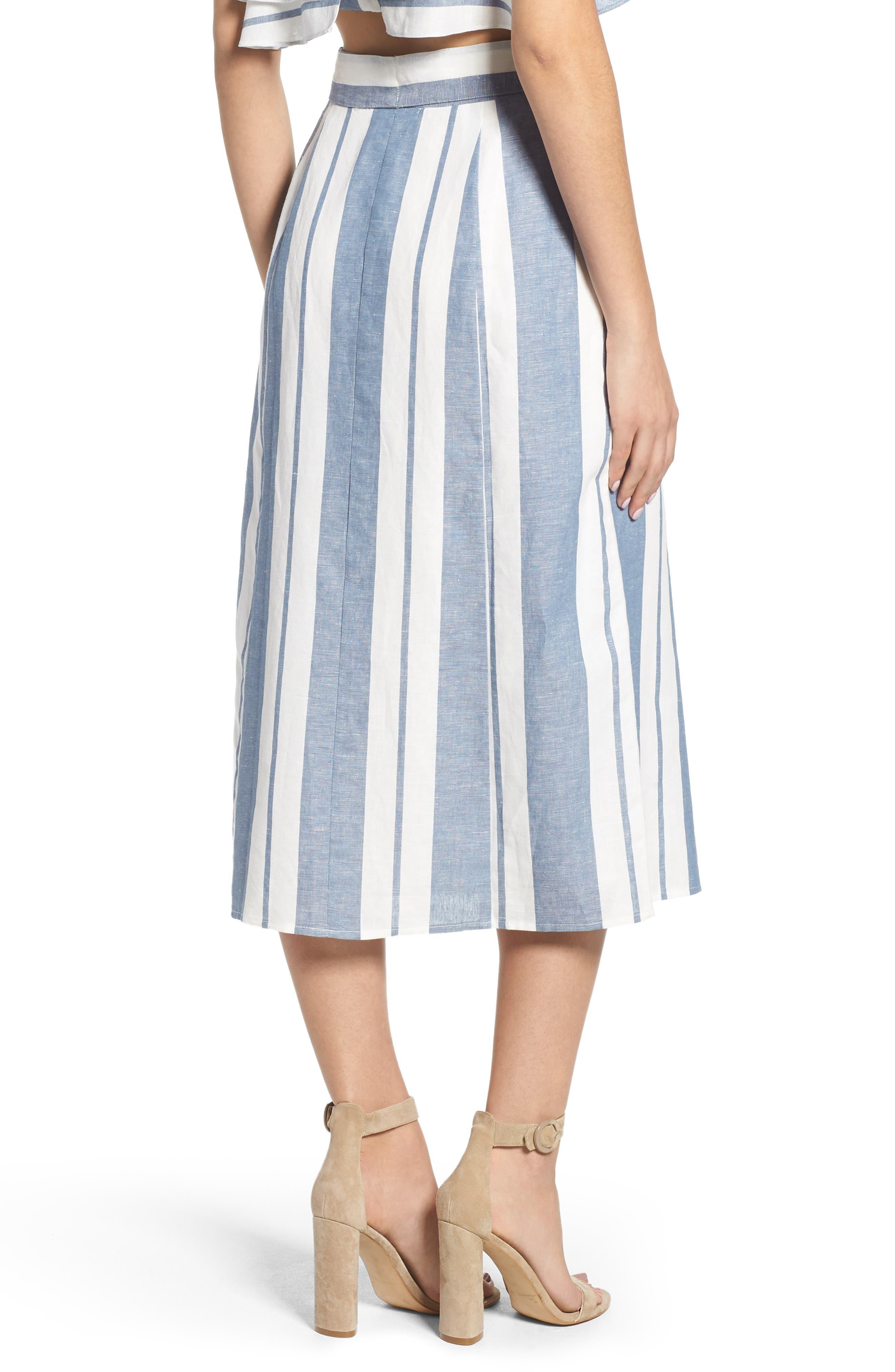 WAYF, Stripe Midi Skirt, Alternate thumbnail 2, color, 400