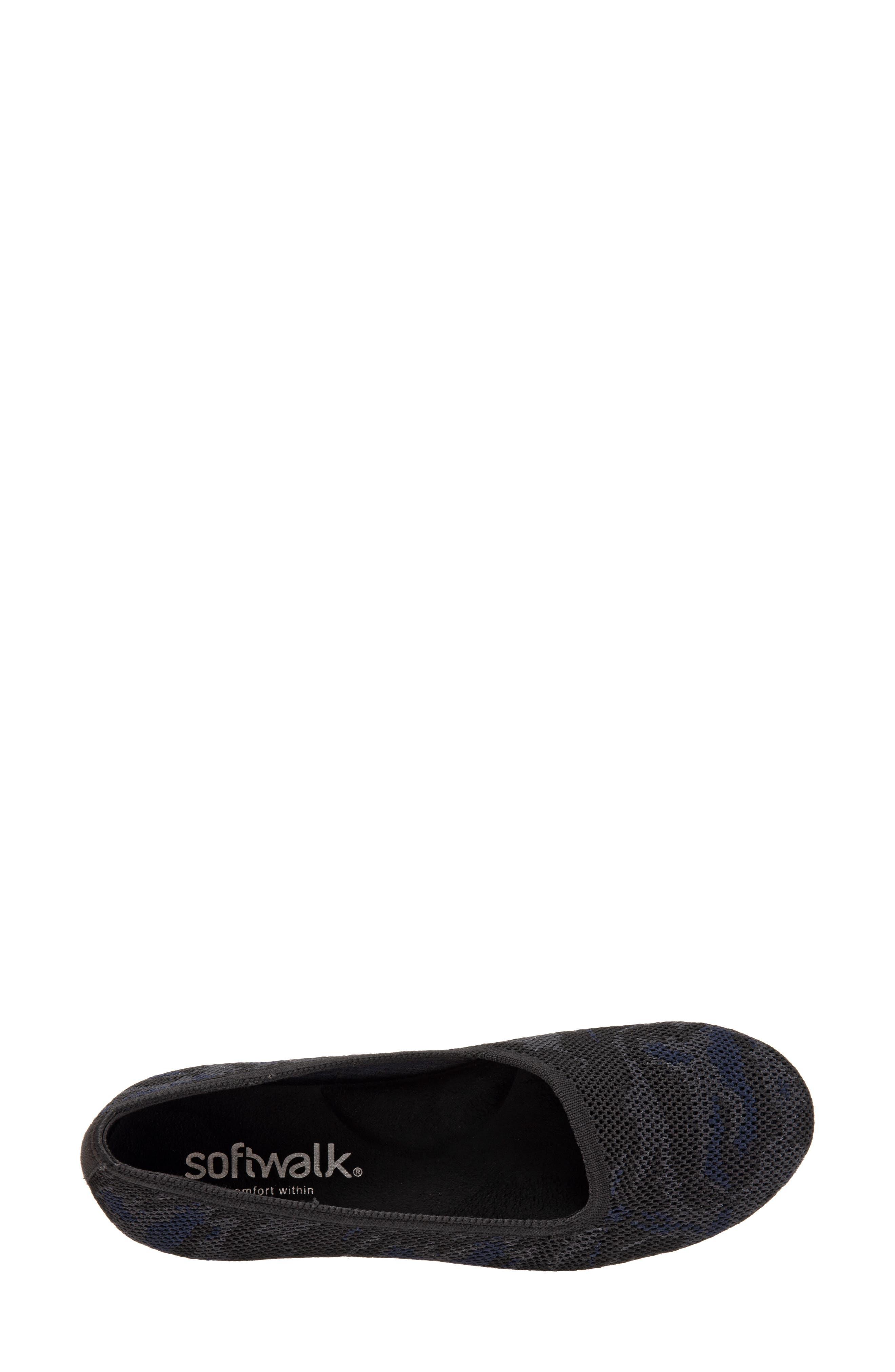 SOFTWALK<SUP>®</SUP>, Sicily Knit Flat, Alternate thumbnail 5, color, BLACK/ GREY FABRIC