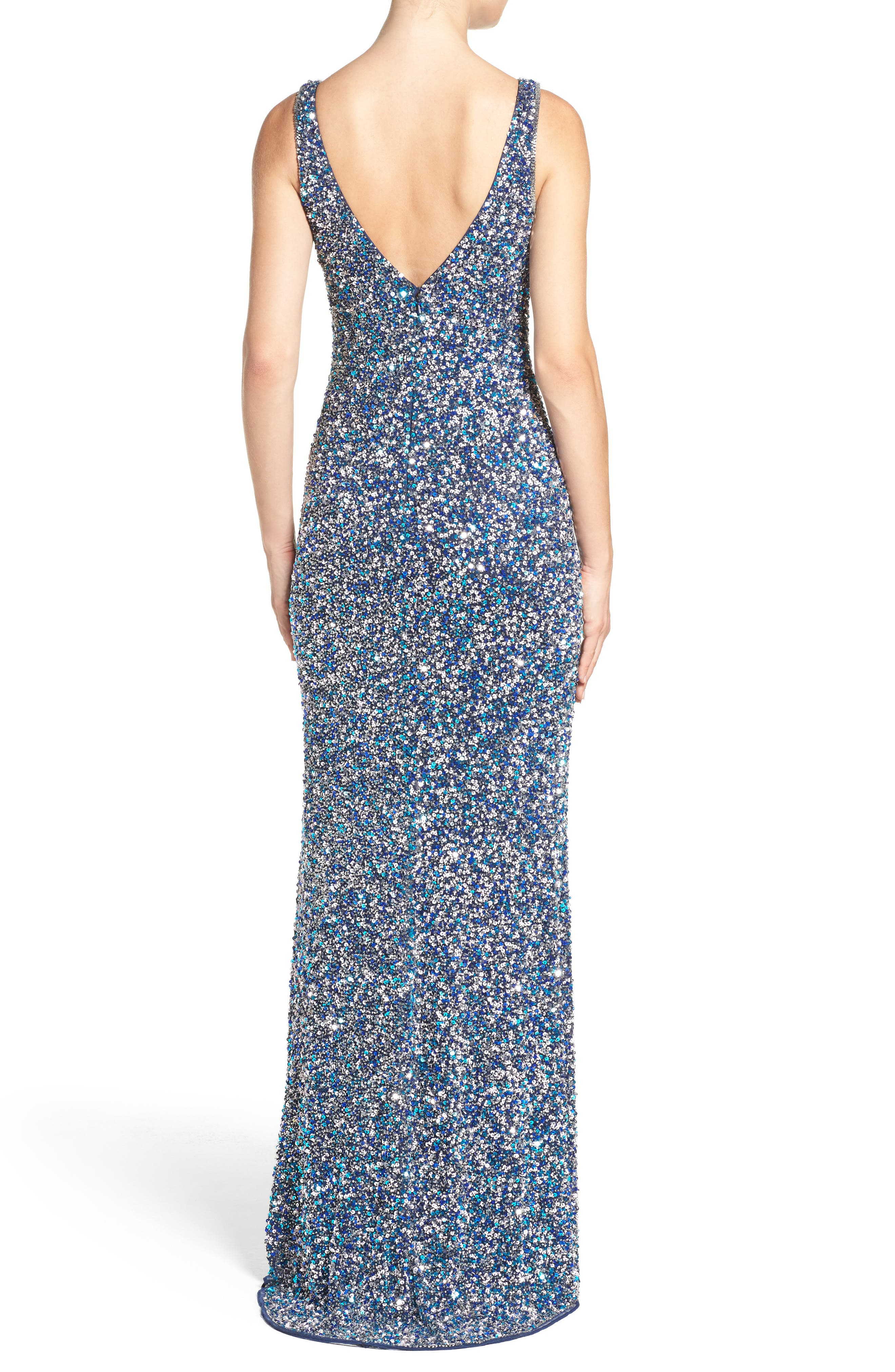 MAC DUGGAL, Sequin Slit Gown, Alternate thumbnail 2, color, NAVY MULTI