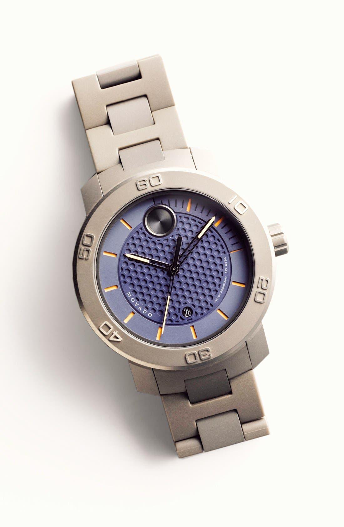 MOVADO, 'Bold' Bracelet Watch, 46mm, Alternate thumbnail 4, color, 001