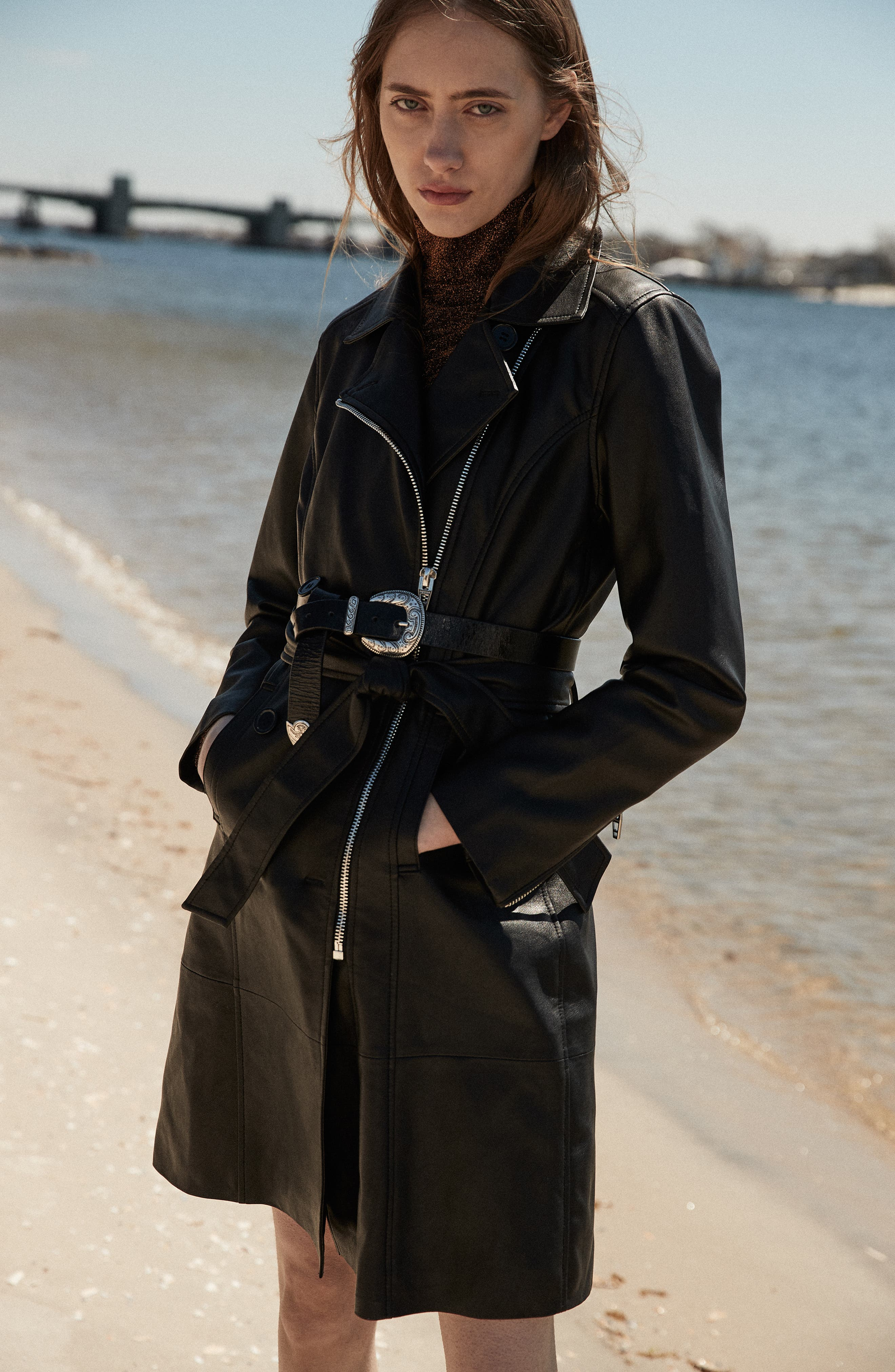 BLANKNYC, Faux Leather Trench Coat, Alternate thumbnail 6, color, PUNISHER